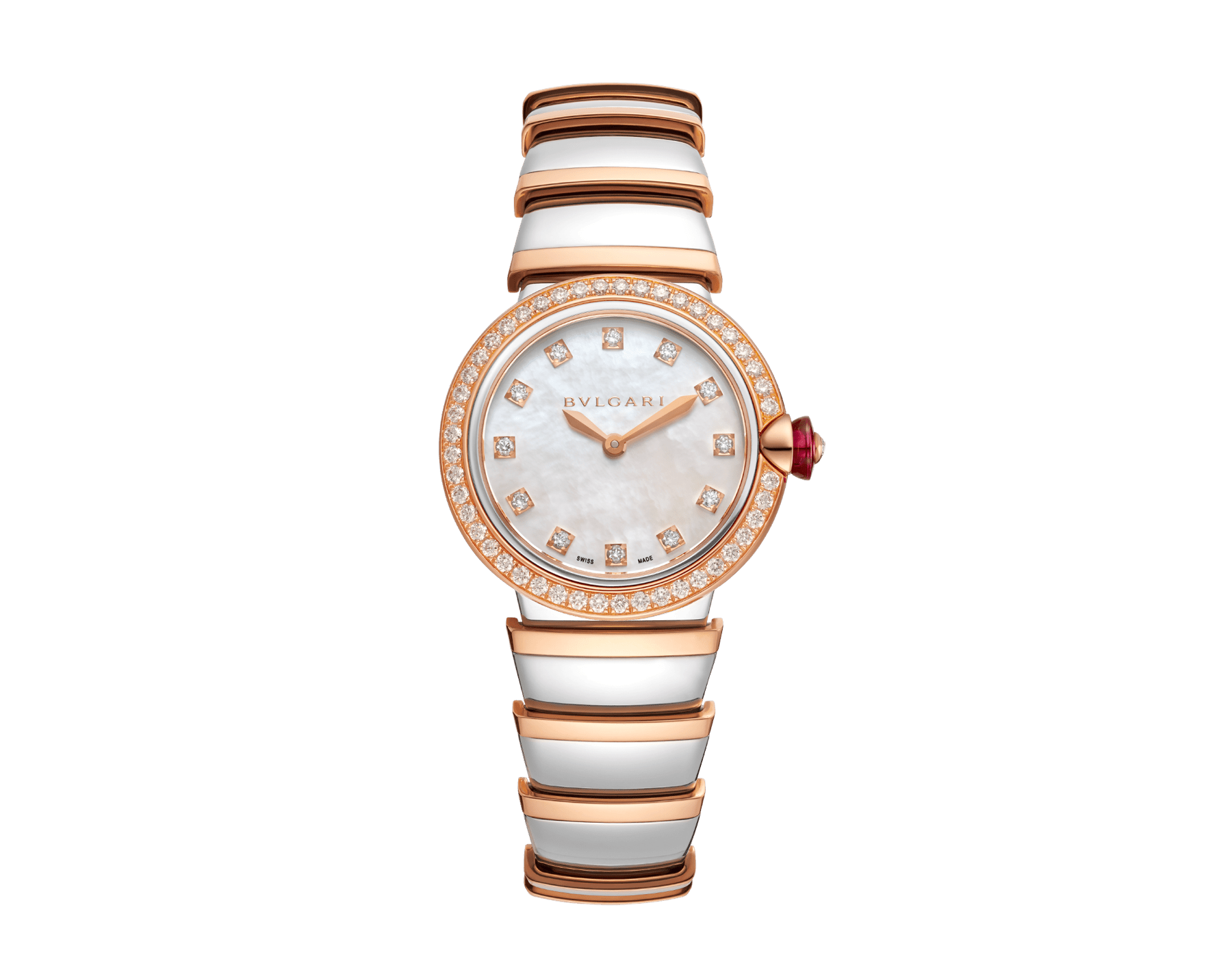 LVCEA watch with stainless steel case, 18 kt rose gold bezel set with brilliant-cut diamonds, white mother-of-pearl dial, diamond indexes and bracelet in stainless teel and 18 kt rose gold 102475 image 1