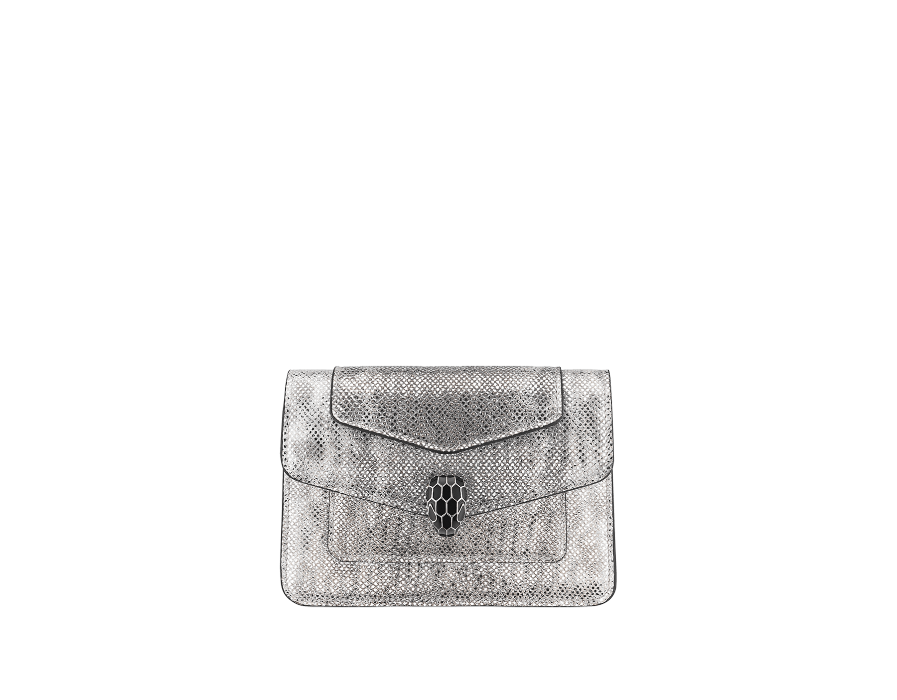 """Serpenti Forever"" micro pochette in white agate metallic karung skin and black nappa leather. Iconic palladium plated brass snakehead stud closure enameled in matte and shiny black and finished with black enamel eyes. SEA-XSPOCHETTE image 1"