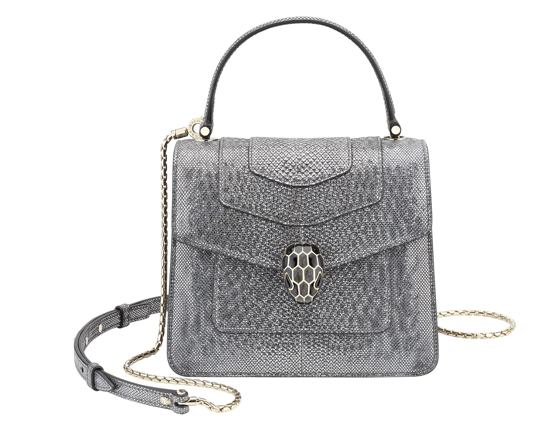 Serpenti Forever crossbody bag in forest emerald metallic karung skin. Snakehead closure in light gold plated bras decorated with shiny black and glitter forest emerald, and black onyx eyes. 752-MK image 1