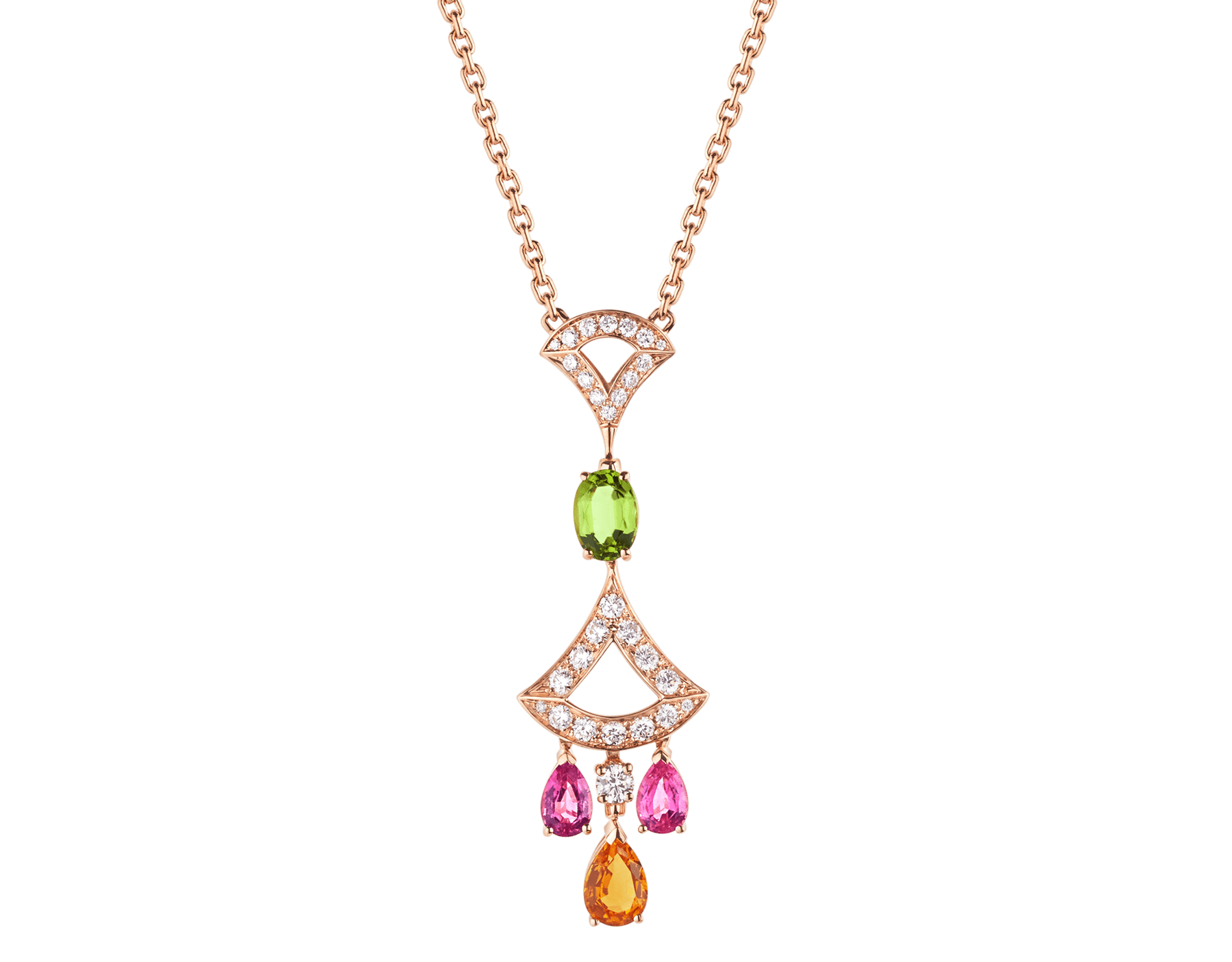 DIVAS' DREAM 18 kt rose gold necklace set with coloured gemstones, a brilliant-cut diamond and pavé diamonds. 355613 image 1