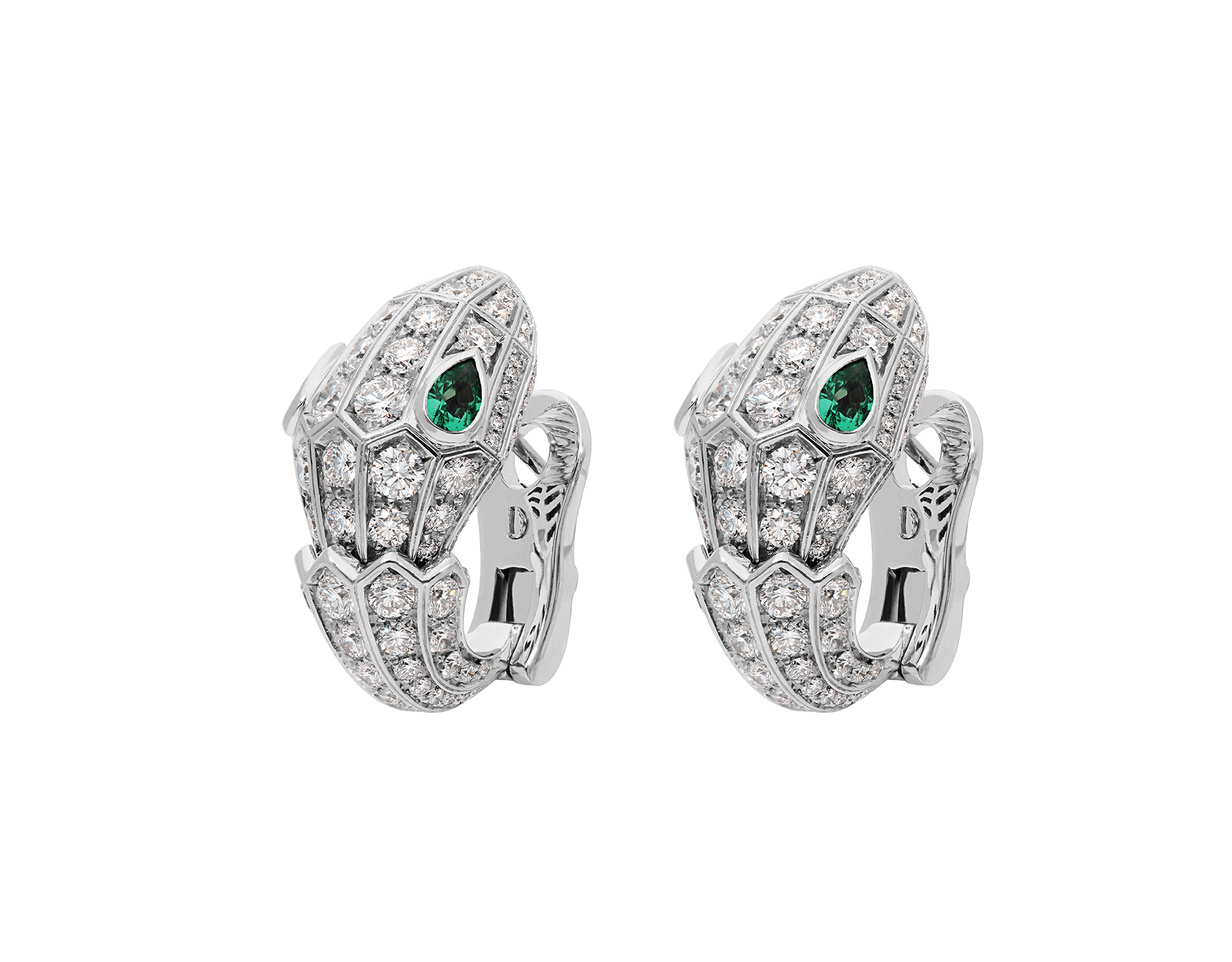 Serpenti 18 kt white gold earrings set with pavé diamonds (3.22ct) and two emerald eyes. (0.51ct) 354702 image 2