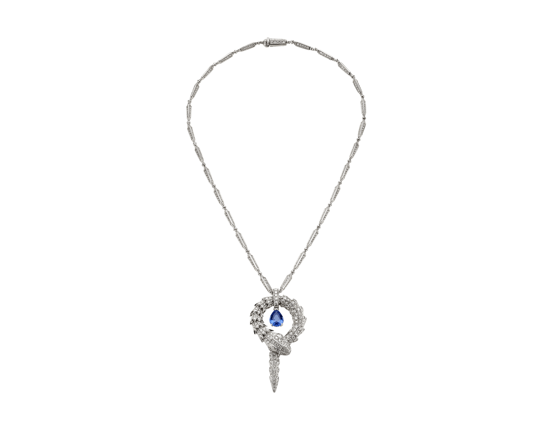 Piccolo pendente Serpenti in oro bianco 18 kt con tanzanite e pavé di diamanti. 354089 image 1