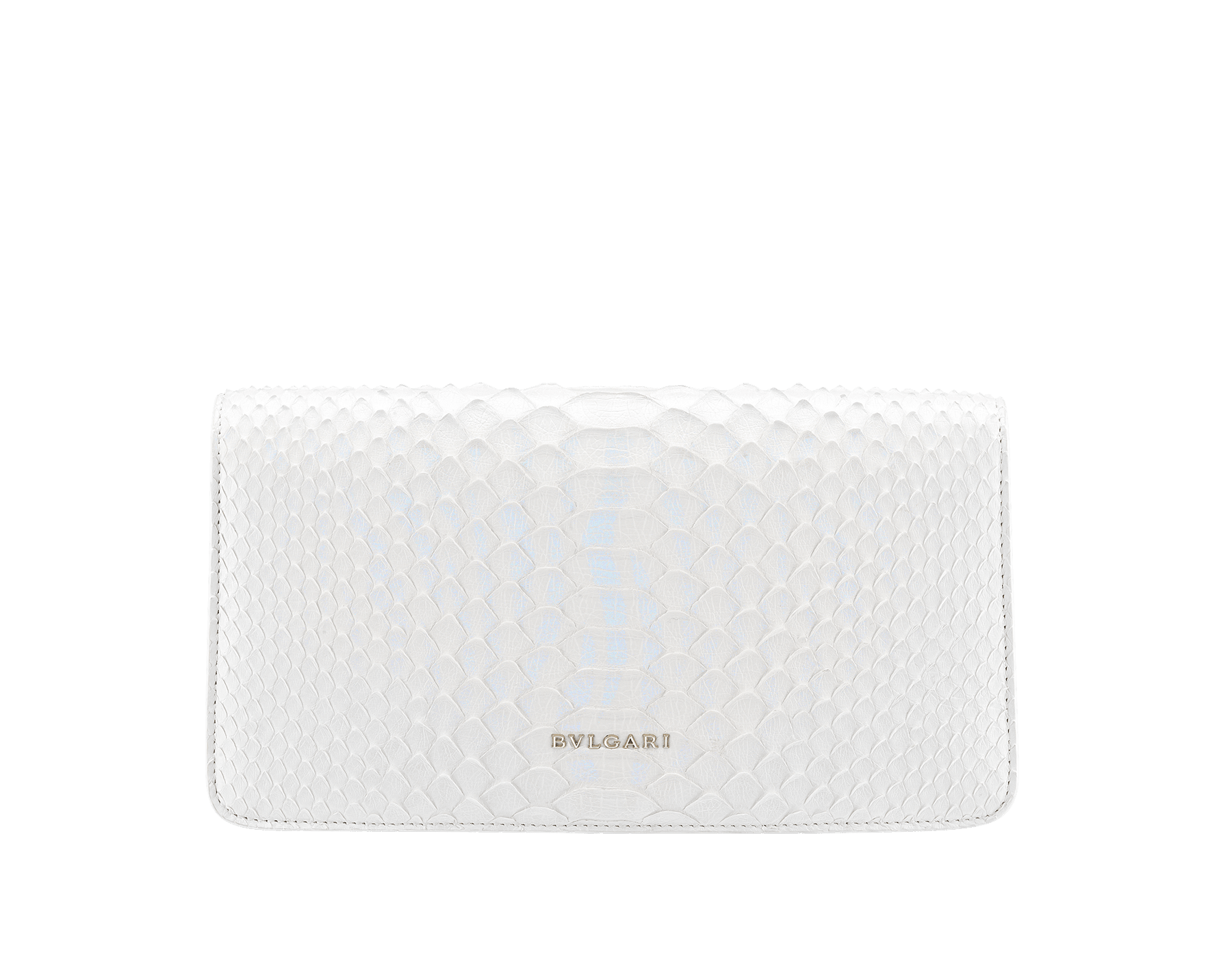 """""""Serpenti Forever"""" shoulder bag in white agate python skin with an iridescent finishing. Iconic snake head closure in light gold plated brass enriched with matte black and shiny white agate enamel and black onyx eyes. 289774 image 3"""