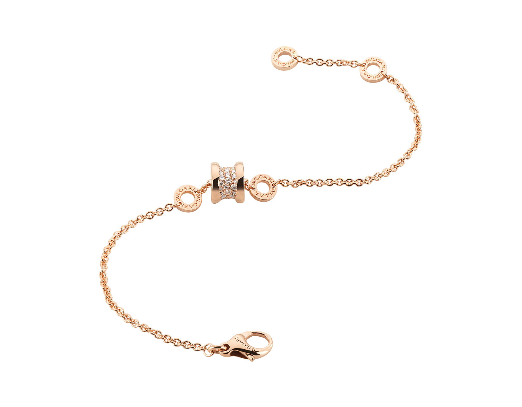 B.zero1 soft bracelet in 18 kt rose gold, set with pavé diamonds on the spiral. BR857358 image 2
