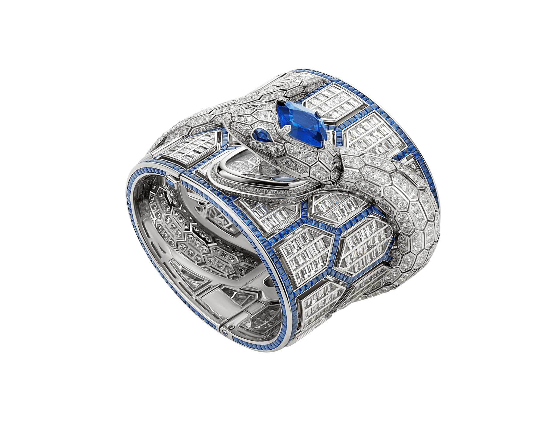 Serpenti Misteriosi Romani watch with 18 kt white gold handcuff set with baguette-cut sapphires and diamonds, body of a snake in 18 kt white gold set with round brilliant-cut diamonds, an oval faceted sapphire and two pear shaped sapphire eyes, and dial fully set with round brilliant-cut diamonds 102987 image 1