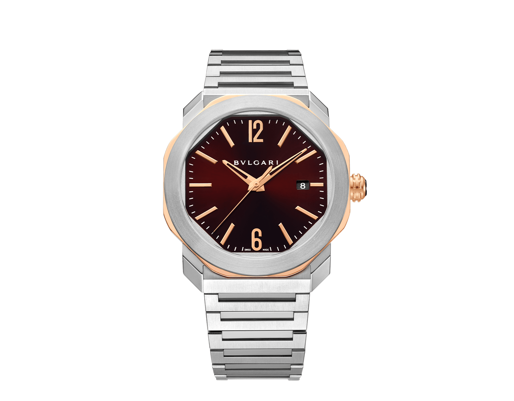 Octo Roma watch with mechanical manufacture movement, automatic winding, stainless steel case and bracelet, 18 kt rose gold octagon and brown dial. Water-resistant up to 50 meters. 103210 image 1