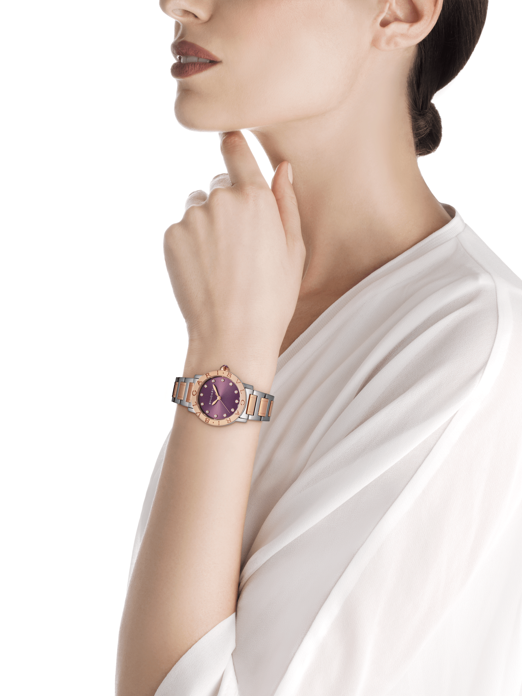 BVLGARI BVLGARI LADY watch in stainless steel and 18 kt rose gold case and bracelet, with purple satiné soleil lacquered dial and diamond indexes 102622 image 4