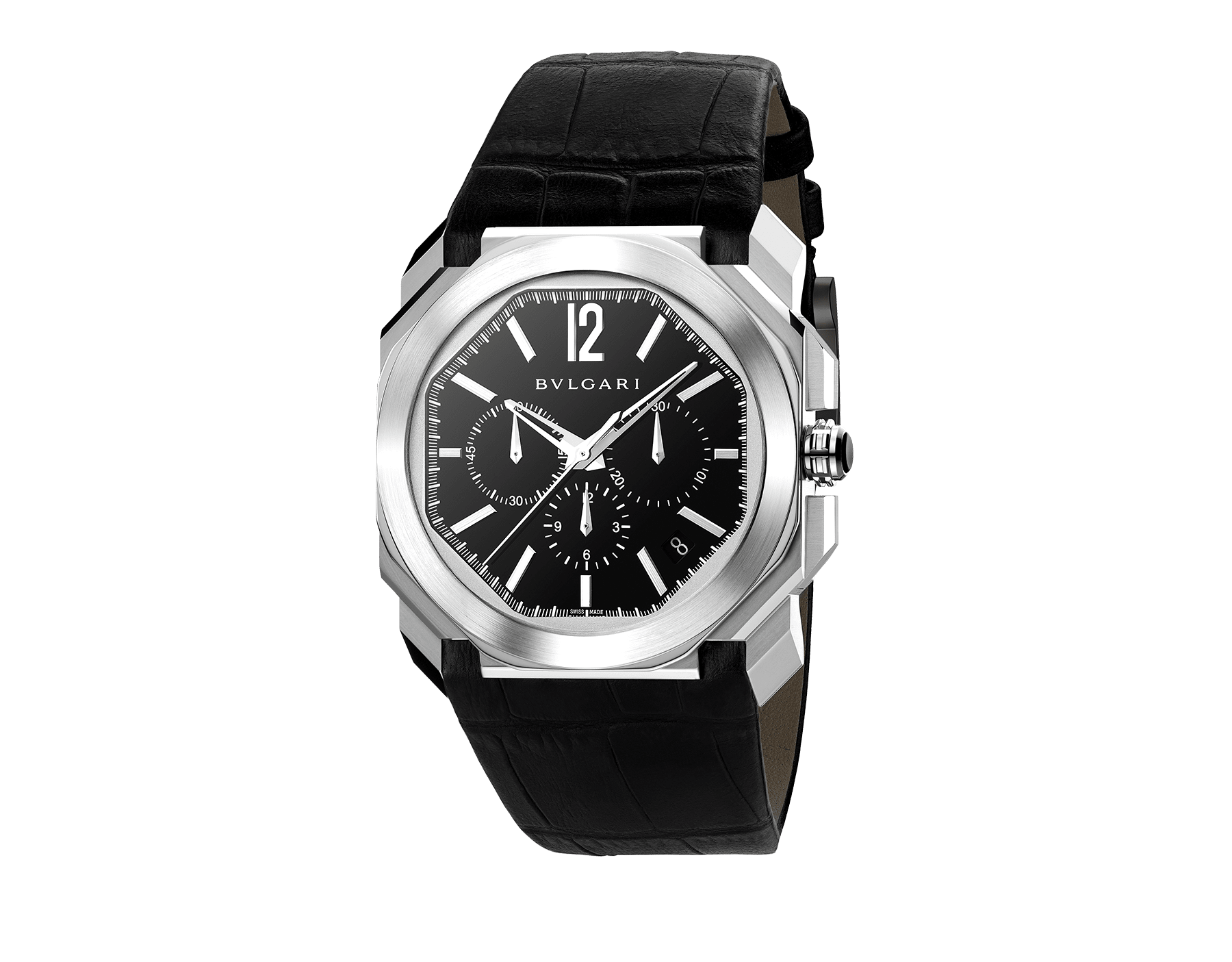 Octo watch with mechanical manufacture movement, high-frequency chronograph, automatic winding and date, stainless steel case, black lacquered dial and black alligator bracelet. 102103 image 1