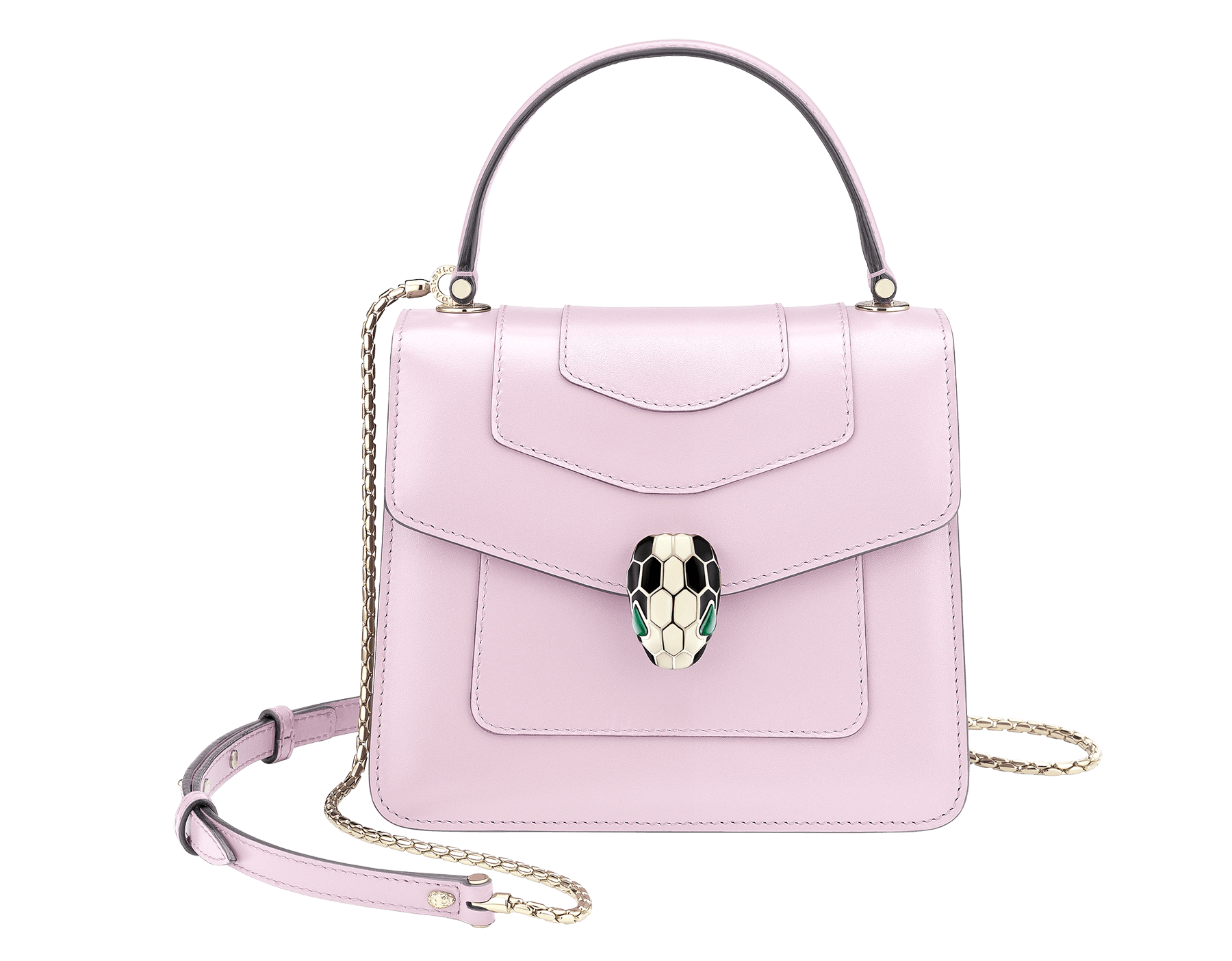 Serpenti Forever crossbody bag in rosa di francia calf leather. Iconic snakehead closure in light gold plated brass embellished with black and white enamel and green malachite eyes. 288712 image 1