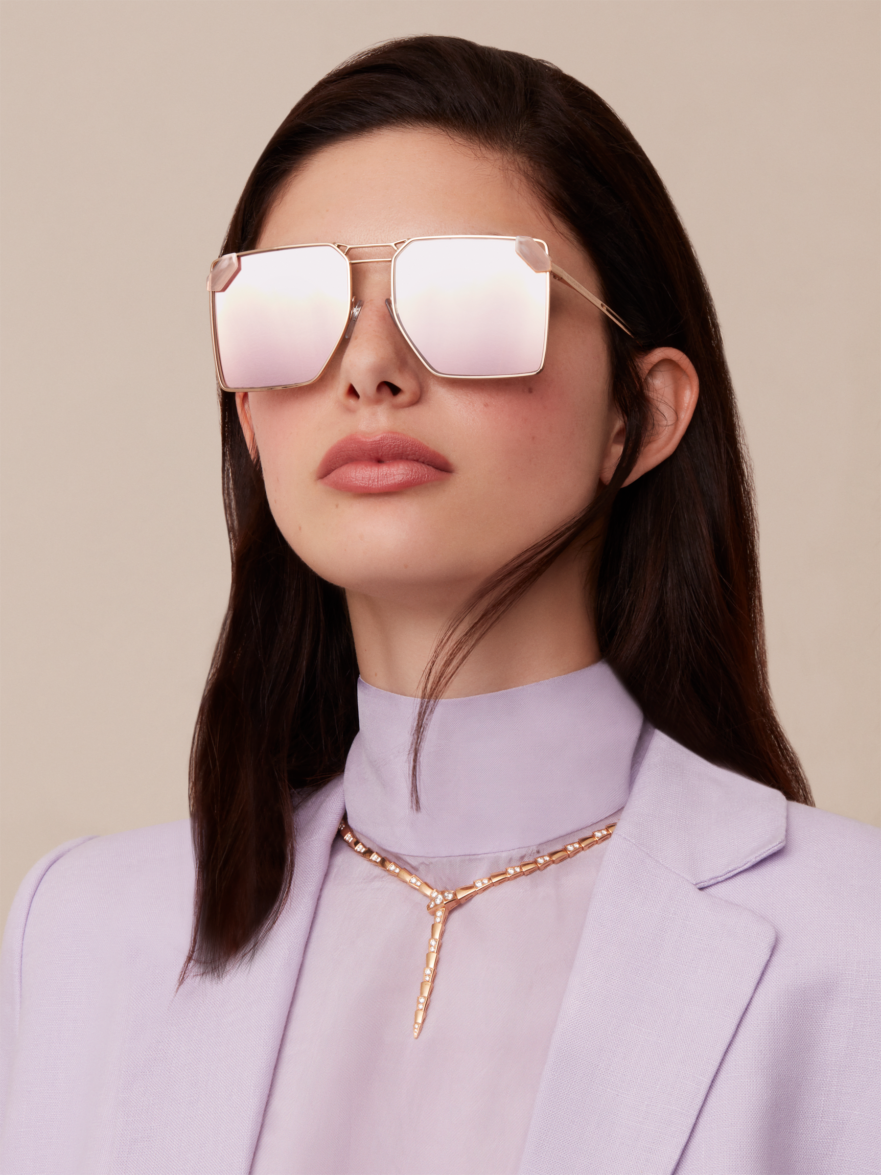"Serpenti ""Sunnyscale"" oversized square metal sunglasses. 904030 image 3"