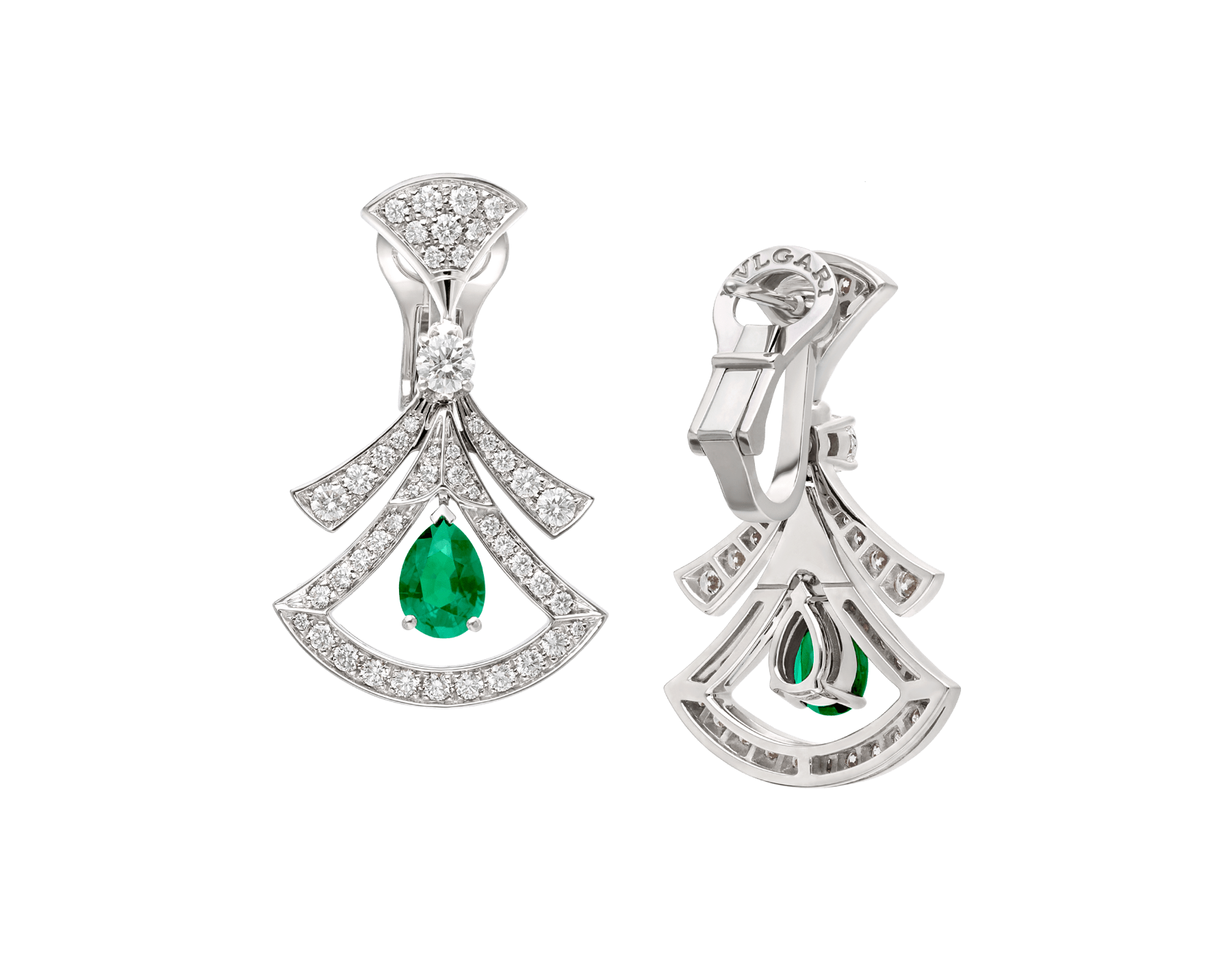 DIVAS' DREAM 18 kt white gold openwork earring set with pear-shaped emeralds, round brilliant-cut and pavé diamonds. 356956 image 3
