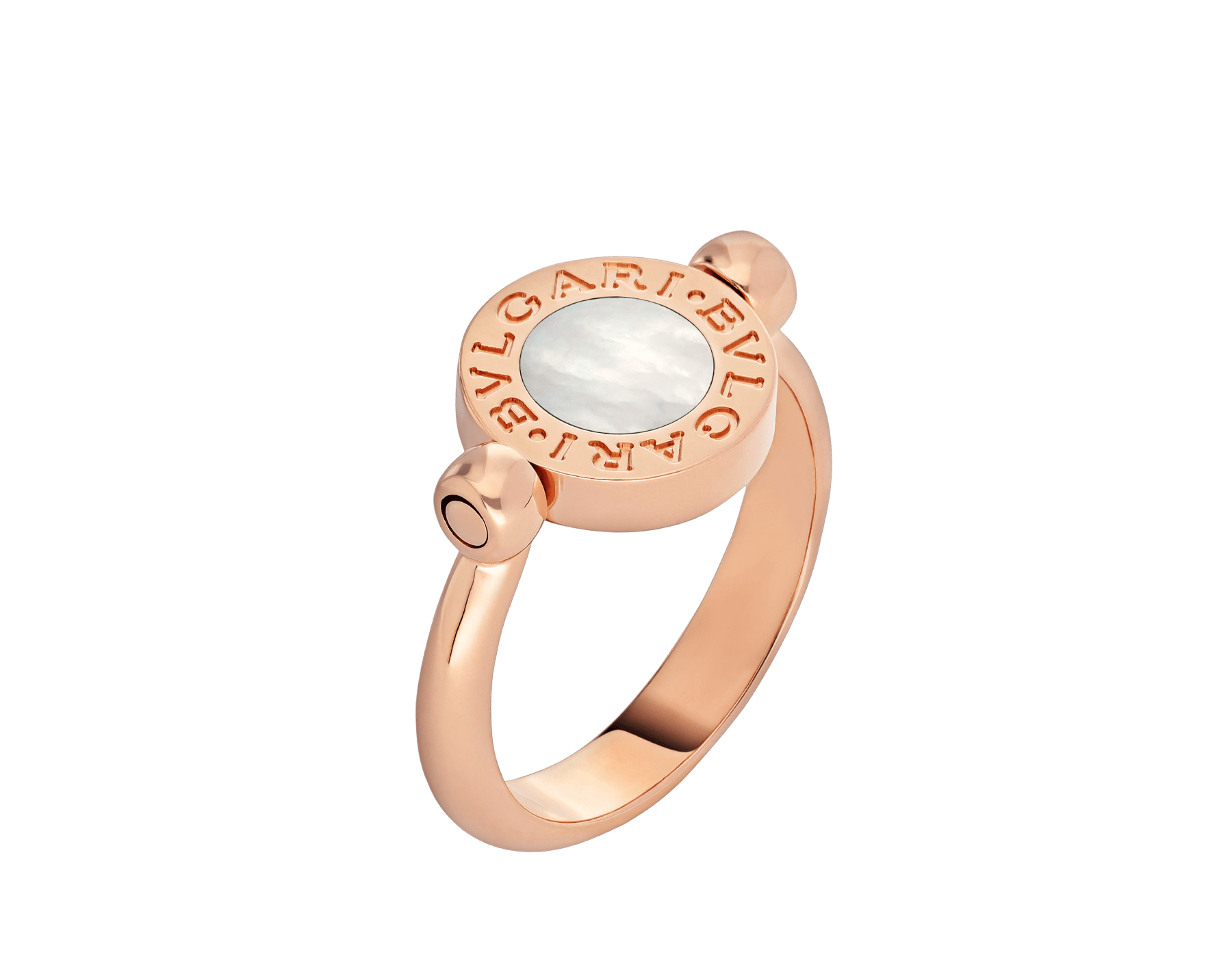 BVLGARI BVLGARI 18 kt rose gold flip ring set with mother-of-pearl and onyx AN856192 image 3