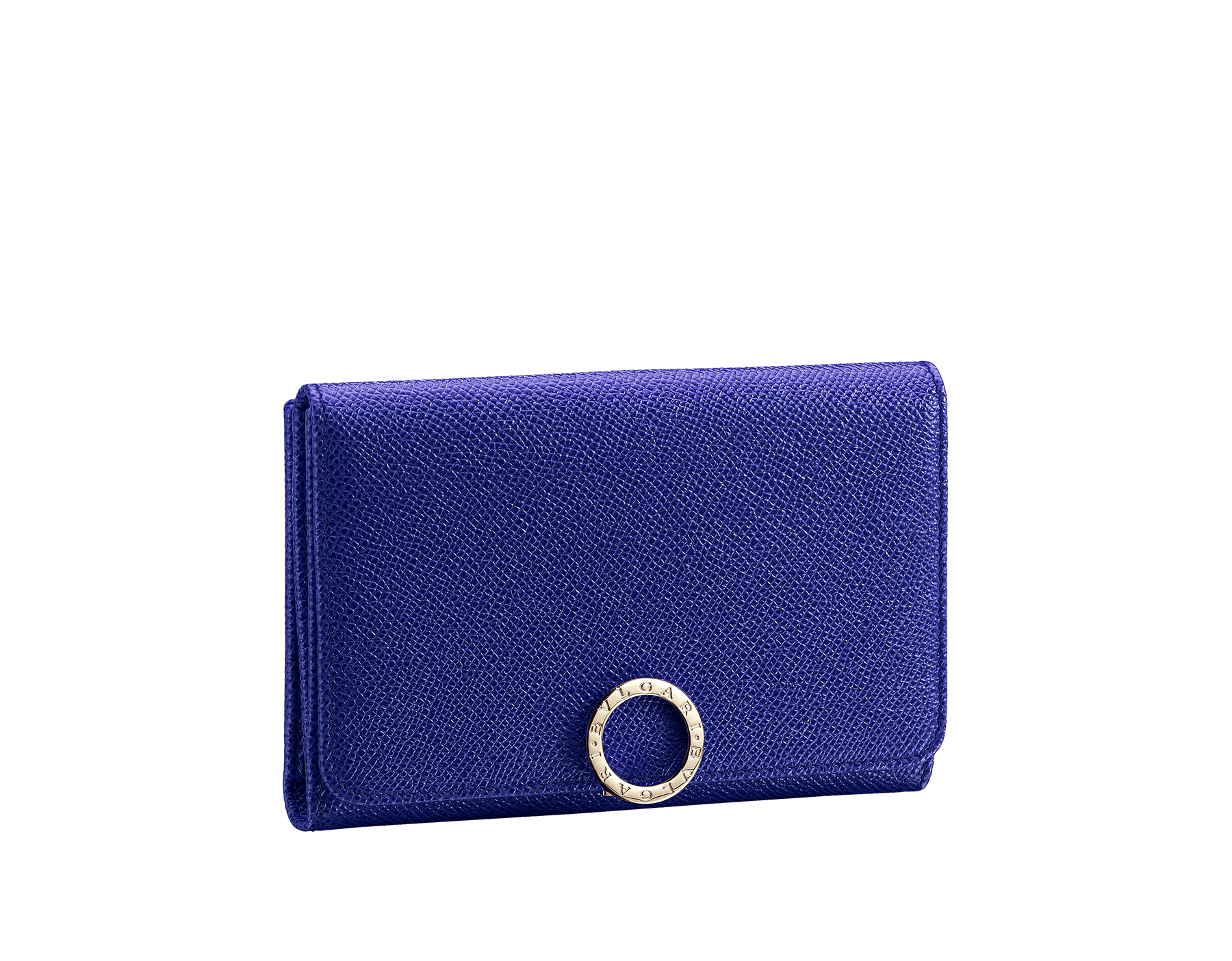 Compact pochette in royal sapphire bright grain calf leather, teal topaz nappa and plum amethyst nappa lining. Brass light gold plated hardware and iconic BVLGARI BVLGARI closure clip. Ten credit card slots, one ID compartment, one bill compartment, one coin pocket with flap, five addictional compartments. Also available in other colours. 14,5 x 10 cm. - 5.7 x 3.9'' 579-COMPPOCHETTE image 1