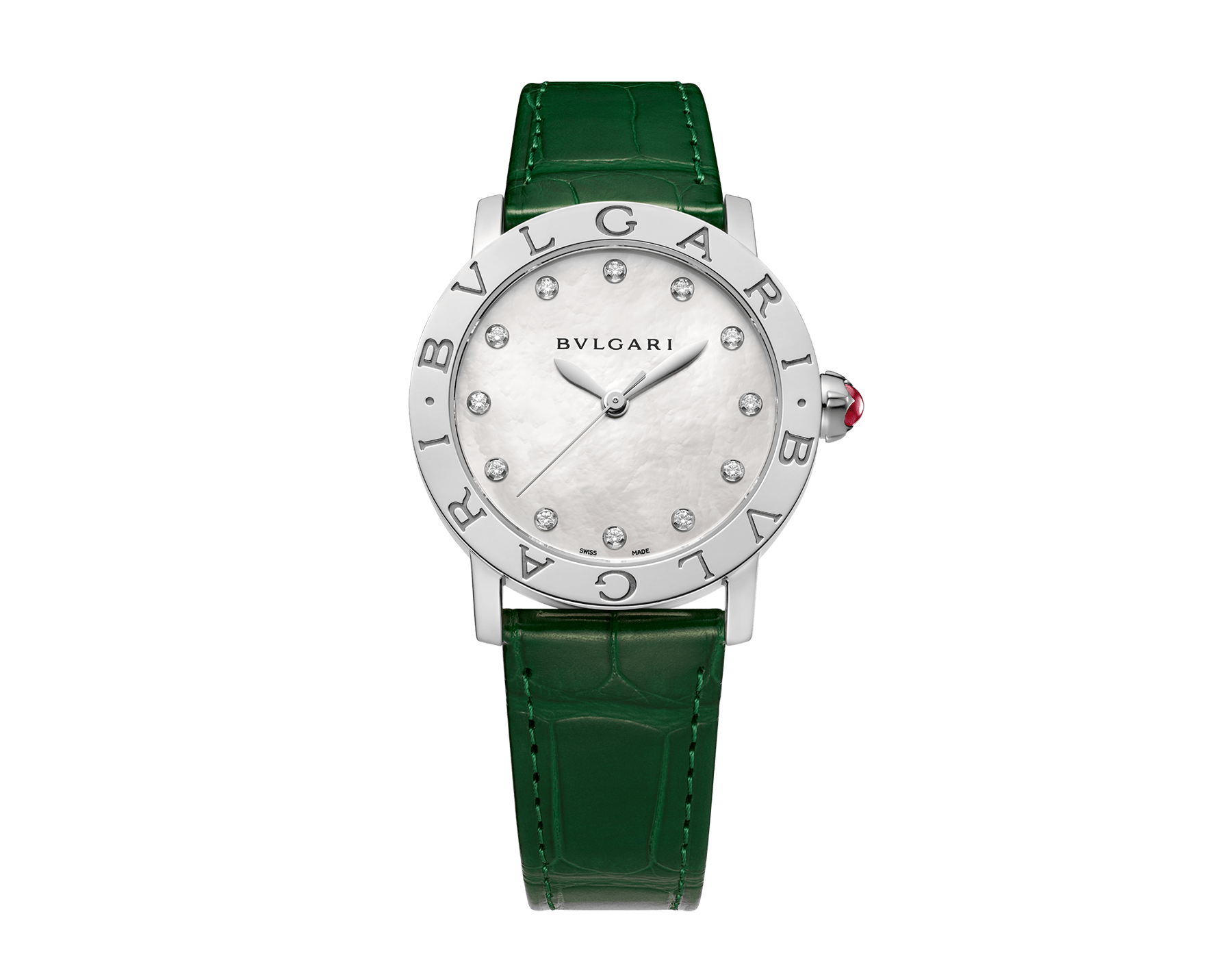 BVLGARI BVLGARI watch with stainless steel case, white mother-of-pearl dial, diamond indexes and shiny green alligator bracelet 102746 image 1