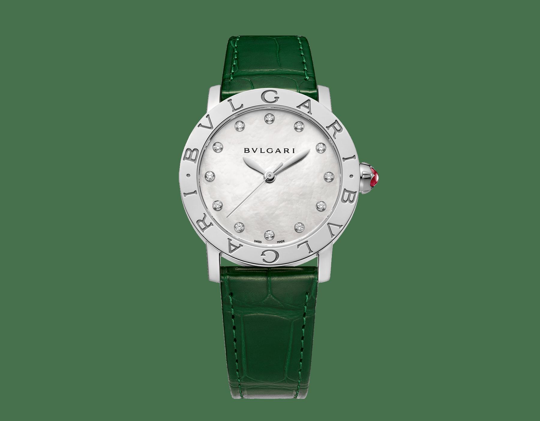 BVLGARI BVLGARI Uhr mit Gehäuse aus Edelstahl, weißem Perlmuttzifferblatt, Diamantindizes und Armband aus glänzend grünem Alligatorleder 102746 image 1