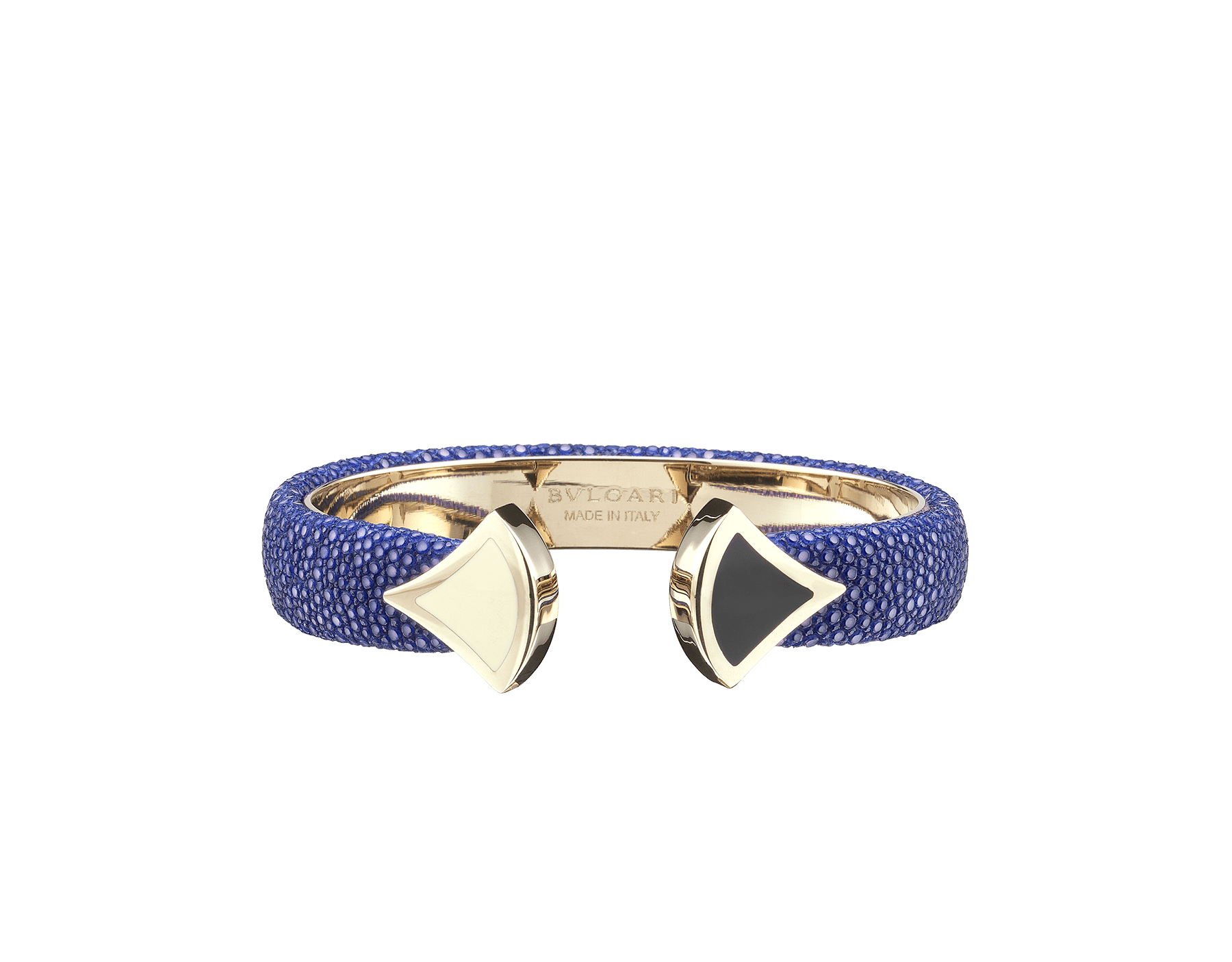 Bracelet in royal sapphire galuchat skin, with iconic contraire brass light gold plated DIVAS' DREAM motif in black and white enamel. DIVA-CONTRAIR-M image 1