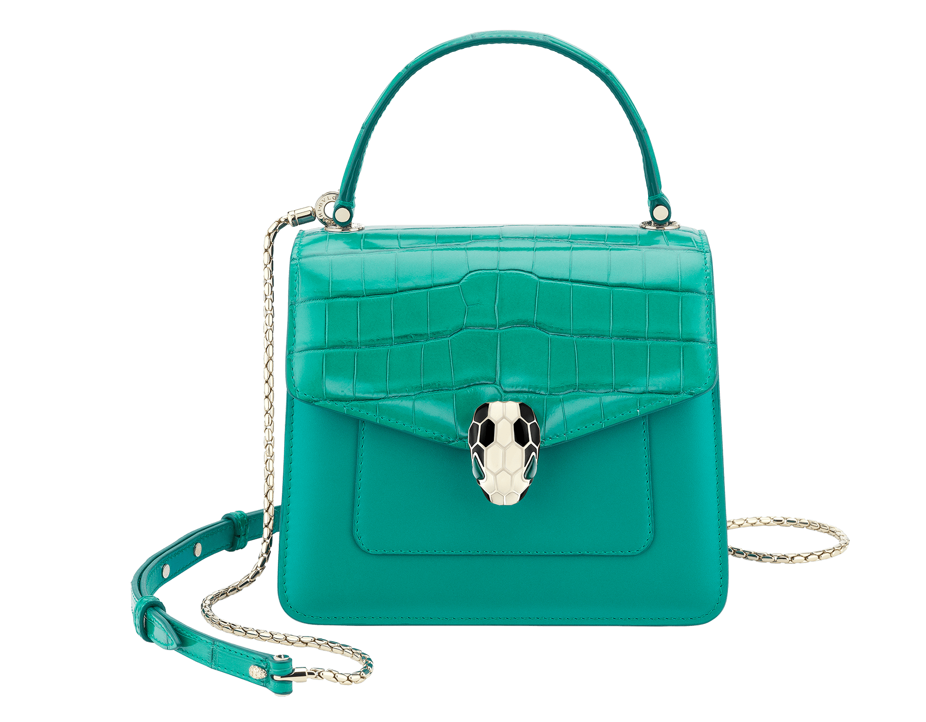 Serpenti Forever crossbody bag in tropical turquoise shiny croco skin and smooth calf leather. Snakehead closure in light gold plated brass decorated with black and white enamel, and green malachite eyes. 752-CLCR image 1
