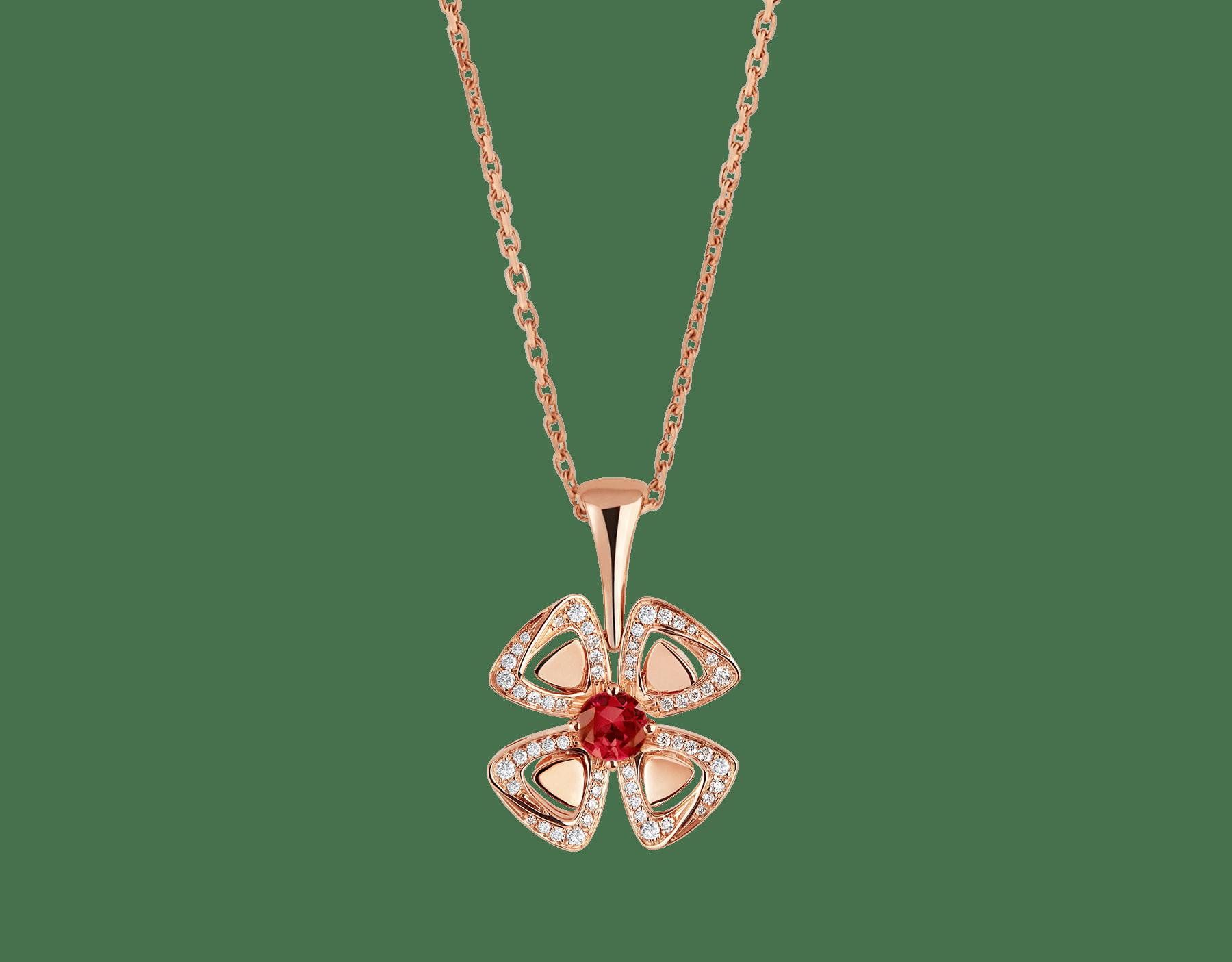 Collier Fiorever en or rose 18K serti d'un rubis de centre avec pavé diamants 356224 image 1
