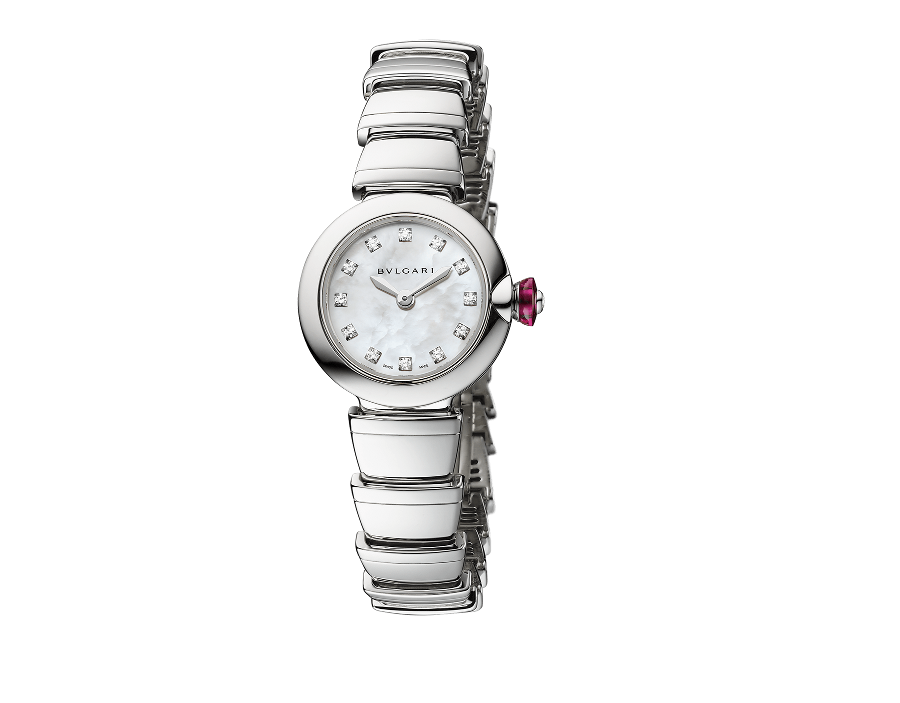 Piccola Lvcea watch in stainless steel case and bracelet, white mother-of-pearl dial and diamond indexes. 102901 image 1