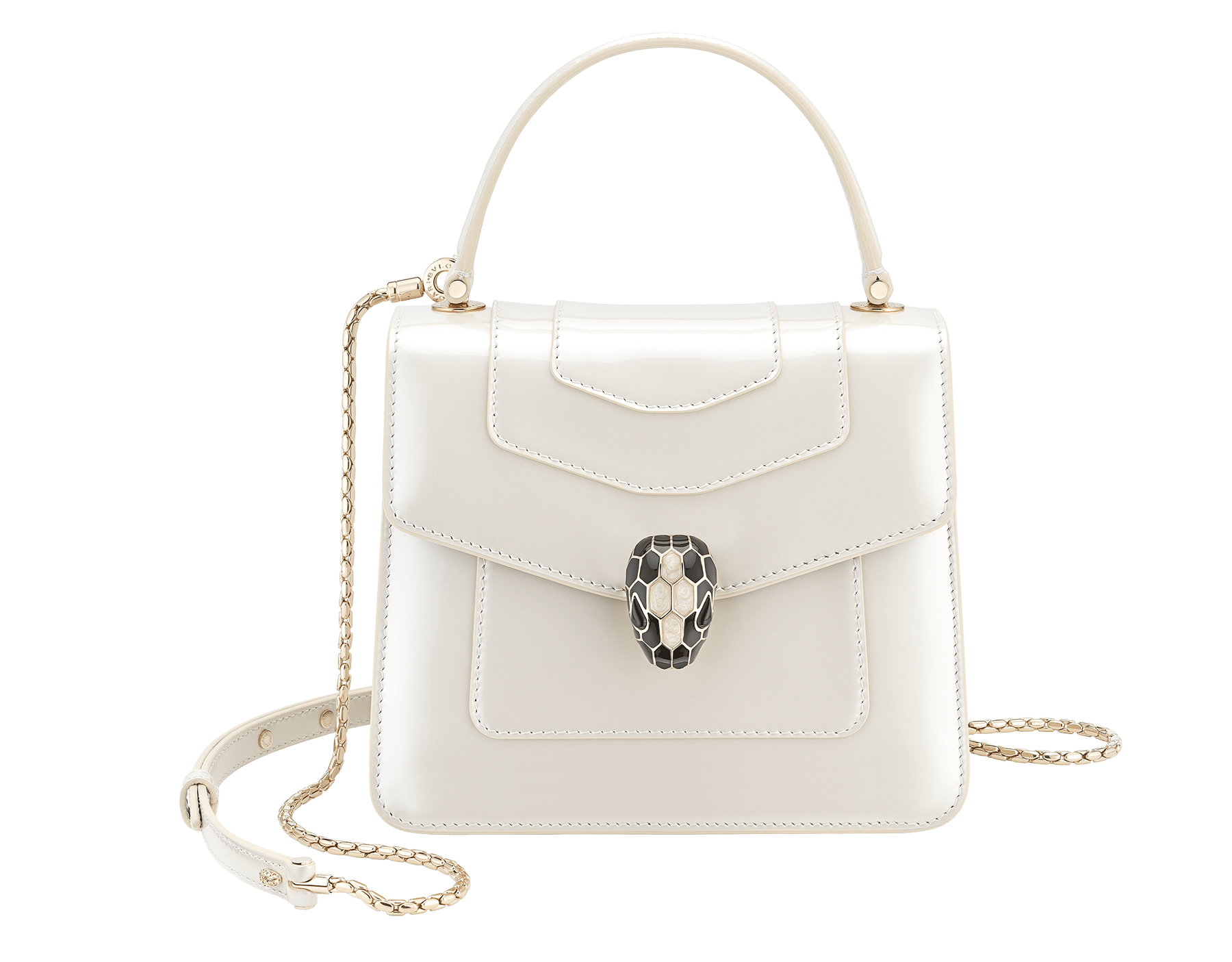 """""""Serpenti Forever """" crossbody bag in white agate leather with a varnished and pearled effect. Iconic snake head closure in light gold plated brass enriched with black and pearled white agate enamel, and black onyx eyes 752-CLd image 1"""