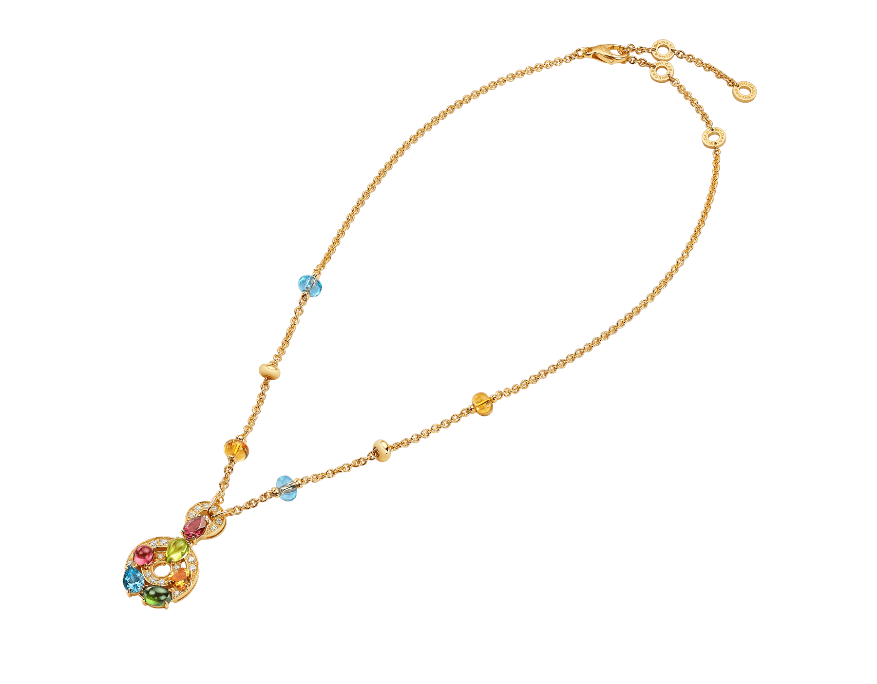 Astrale 18 kt yellow gold large pendant necklace set with blue topazes, amethysts, green tourmalines, peridots, citrine quartz, rhodolite garnets and pavé diamonds 339139 image 3