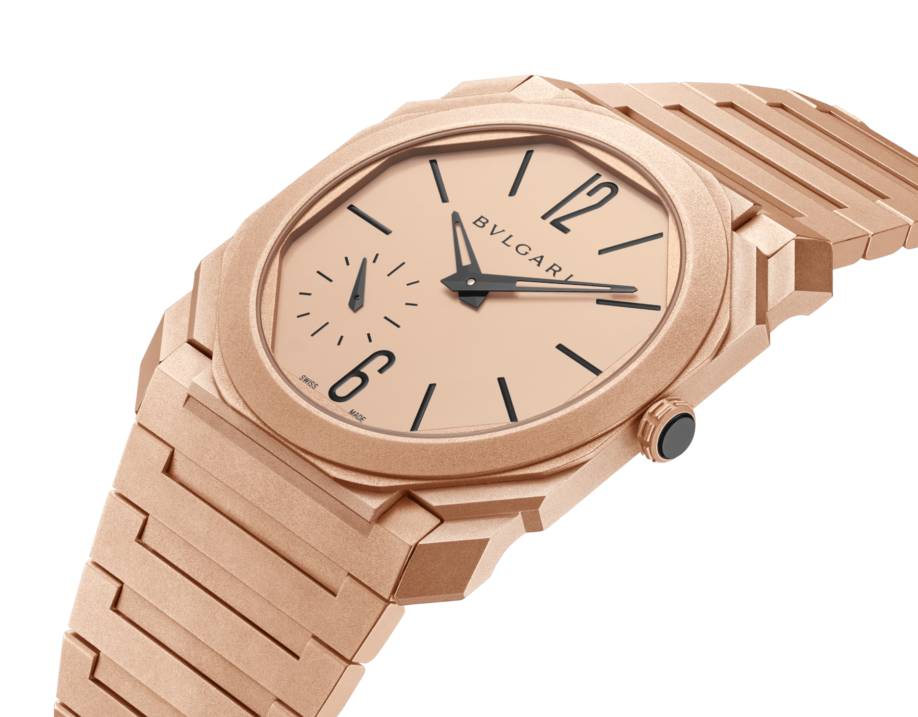 Octo Finissimo Automatic watch with mechanical manufacture movement, automatic winding, platinum microrotor, small seconds, extra-thin sandblasted 18 kt rose gold case and bracelet, and 18 kt rose gold dial 102912 image 2
