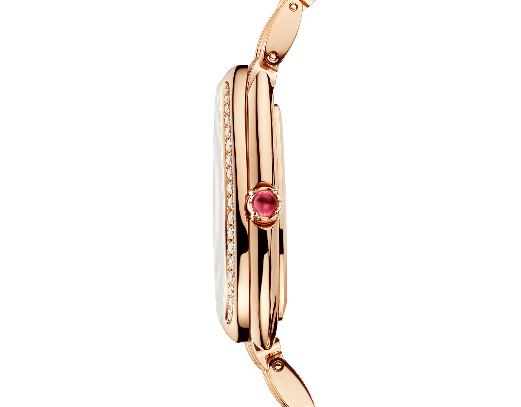 Serpenti Seduttori watch with 18 kt rose gold case and bracelet, 18 kt rose gold bezel set with diamonds and malachite dial 103273 image 3