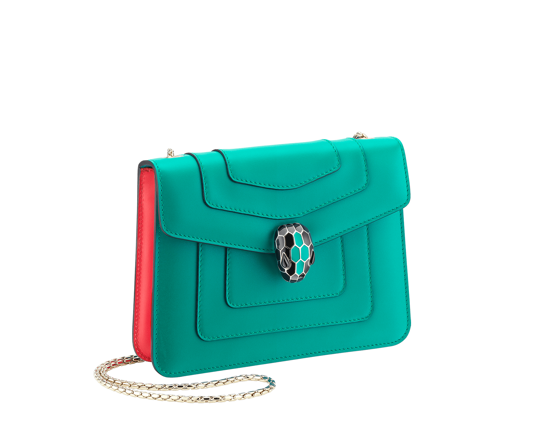 Serpenti Forever crossbody bag in tropical turquoise smooth calf leather body and sea star coral calf leather sides. Snakehead closure in light gold plated brass decorated with tropical turquoise and black enamel, and black onyx eyes. 287958 image 2