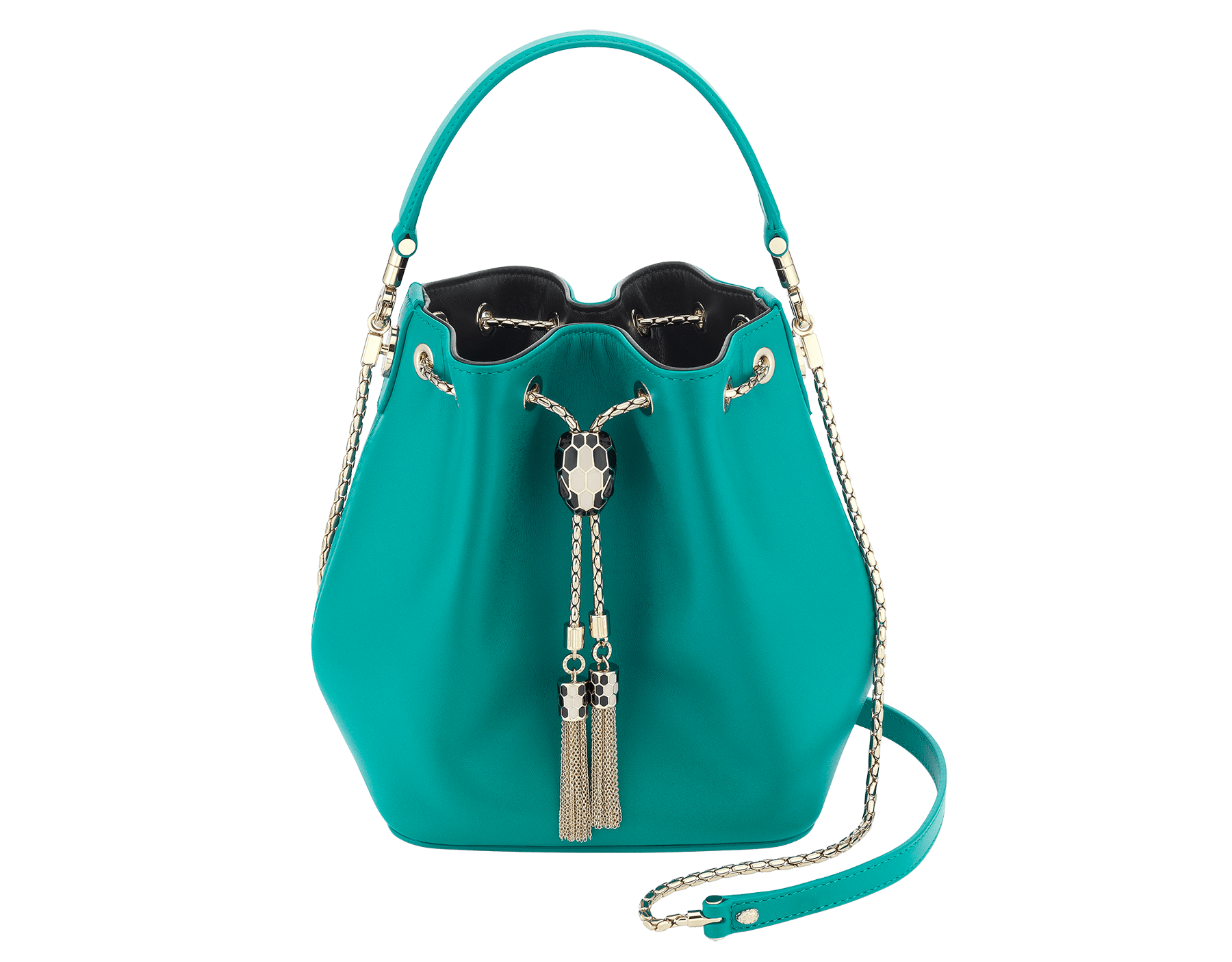 Serpenti Forever bucket bag in tropical turquoise smooth calf leather and black nappa inner lining. Snakehead closure in light gold plated brass decorated with black and white enamel, and black onyx eyes. 287981 image 1