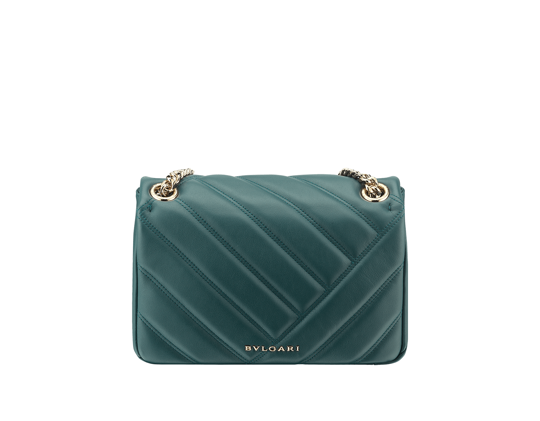 Serpenti Cabochon shoulder bag in soft quilted forest emerald calf leather, with a graphic motif. Brass light gold plated tempting snakehead closure in forest emerald enamel and black onyx eyes. 288719 image 3