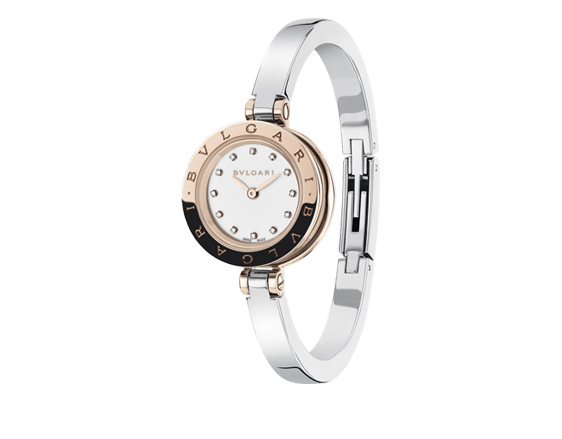 B.zero1 watch with stainless steel and 18 kt rose gold case, white lacquered dial set with diamond indexes and stainless steel bangle. Small size. 102418 image 1