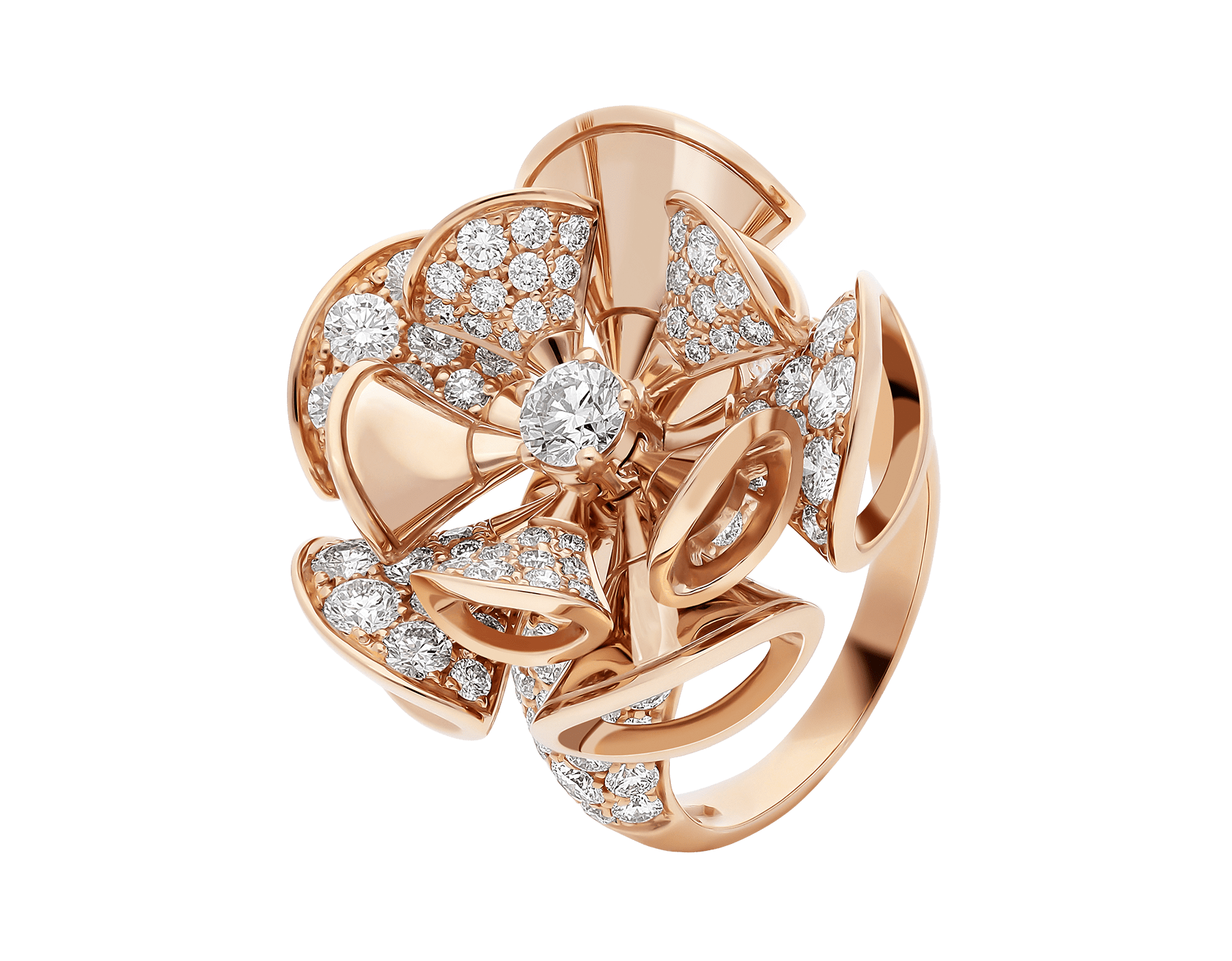 DIVAS' DREAM ring in 18 kt rose gold, set with central diamond and pavé diamonds. AN856354 image 1