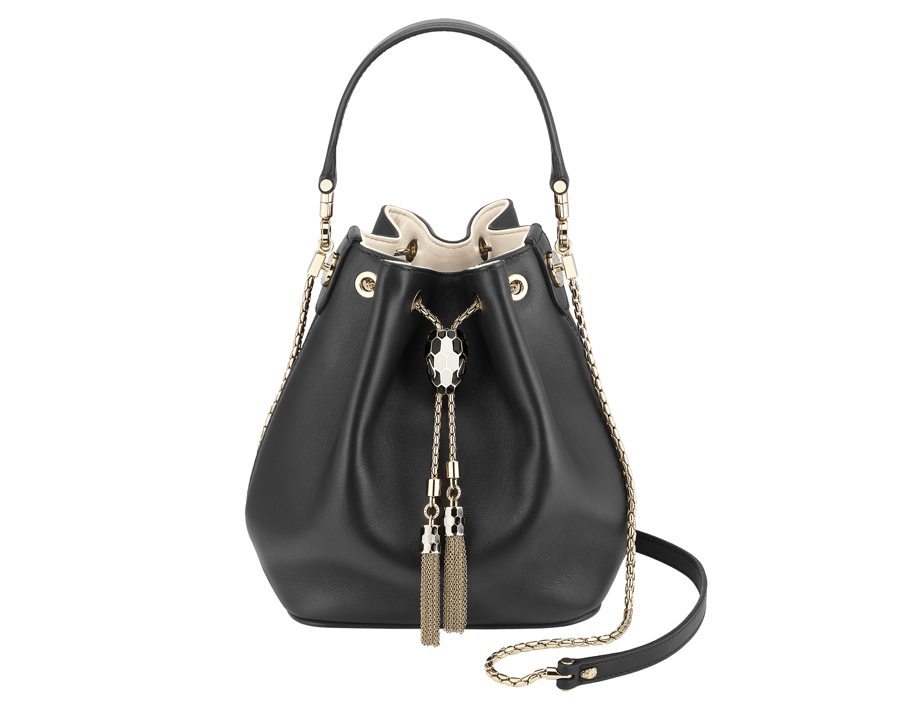 Bucket Serpenti Forever in black smooth calf leather and milky opal nappa internal lining. Hardware in light gold plated brass and snakehead closure in black and white enamel, with eyes in black onyx. 934-CLb image 1