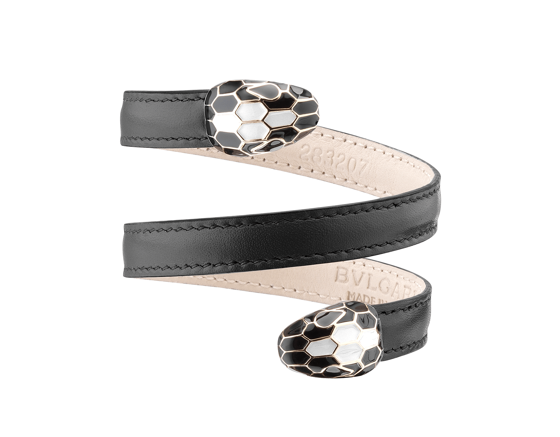 Multi-coiled rigid bracelet in black calf leather with brass light gold plated hardware. Double tempting Serpenti head finished in black and tone on tone enamel. 283203 image 1