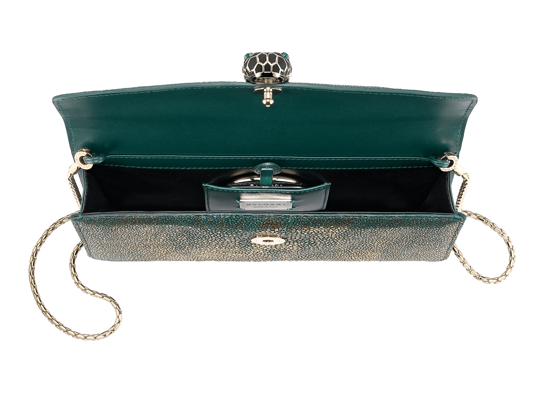 """""""Serpenti Forever"""" shoulder bag in golden emerald crystal galuchat skin. Iconic snake head closure in light gold plated brass enriched with black and forest emerald enamel and green malachite eyes. Special Edition. 486-CG image 4"""