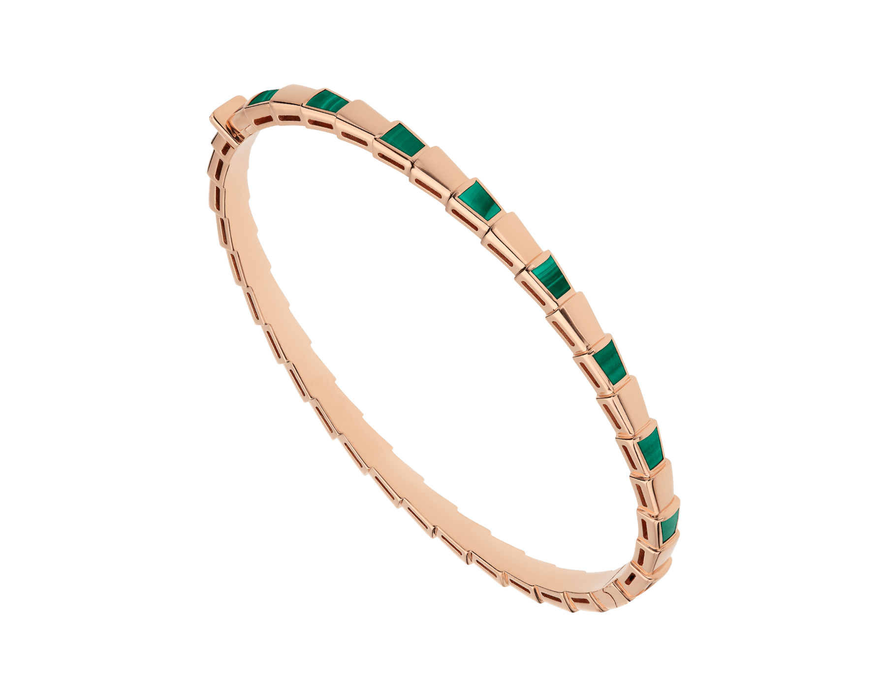 Serpenti 18 kt rose gold thin bangle bracelet set with malachite elements BR858709 image 1