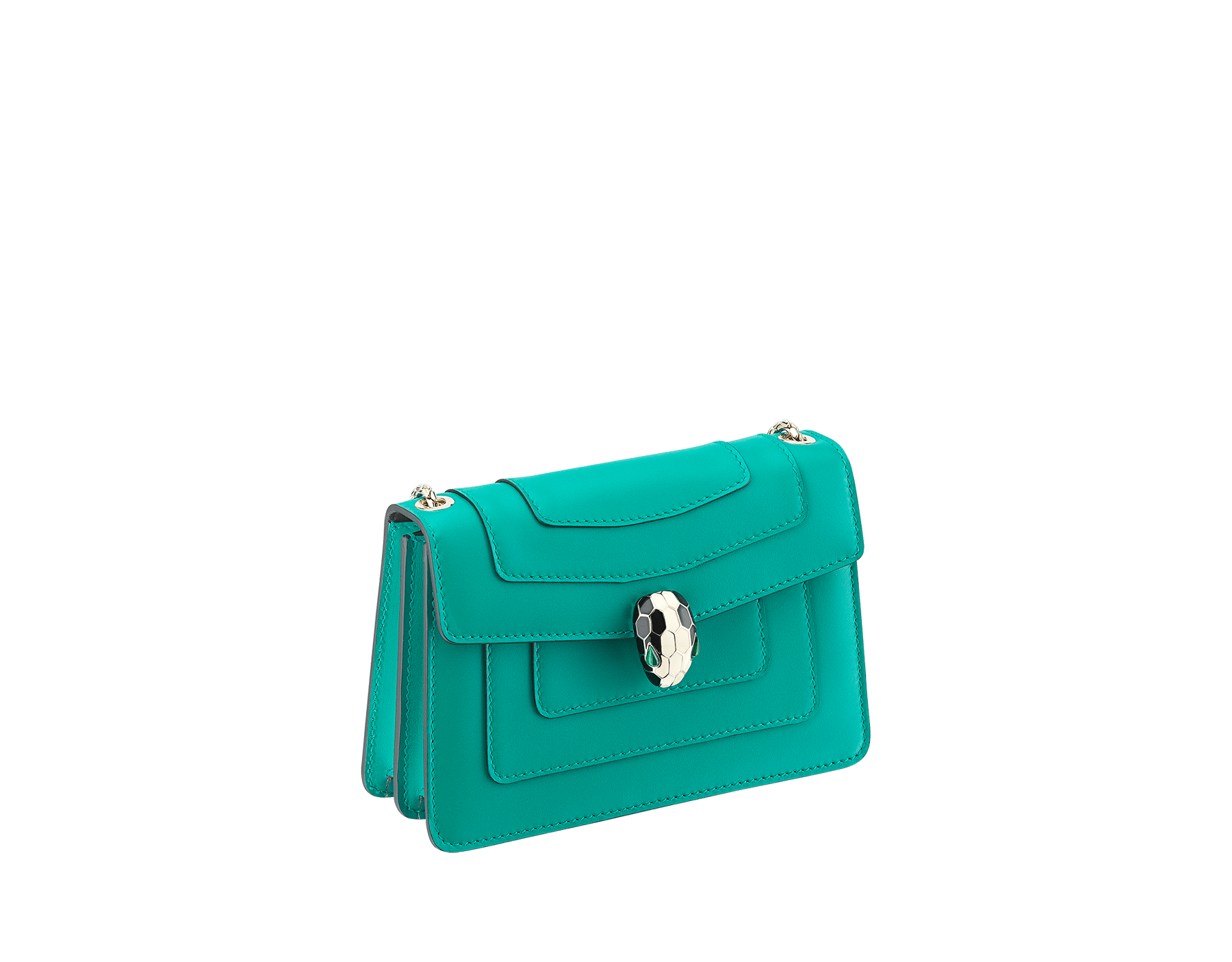 Serpenti Forever mini crossbody bag in tropical tourquoise calf leather. Brass light gold plated snake head closure in black and white enamel, with green malachite eyes. 288043 image 2