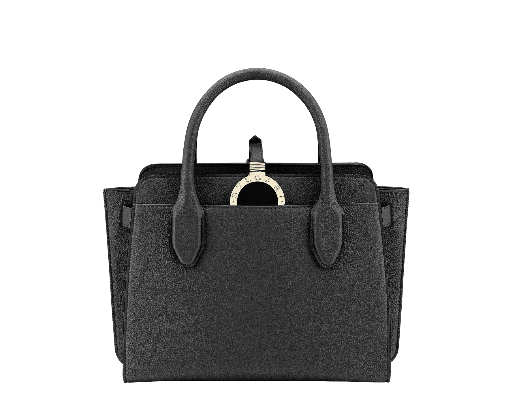 Tote bag BVLGARI BVLGARI Alba in black grain calf leather with zip closure. Pendant motif in brass light gold plated metal featuring the iconic double logo and Tubogas motif. 282597 image 1