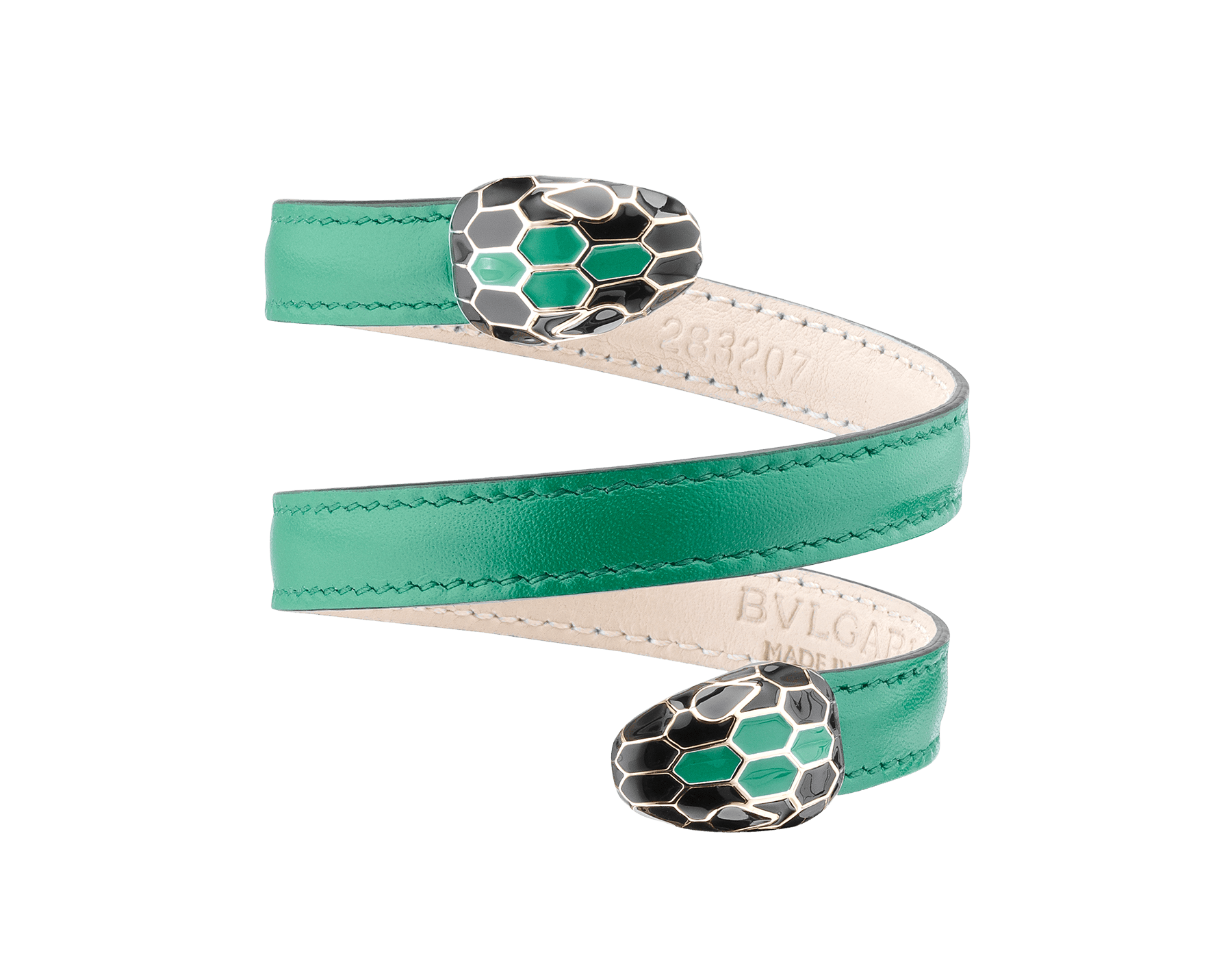 Multi-coiled rigid bracelet in emerald green calf leather with brass light gold plated hardware. Double tempting Serpenti head finished in black and tone on tone enamel. Cleopatra-CL-EG image 1
