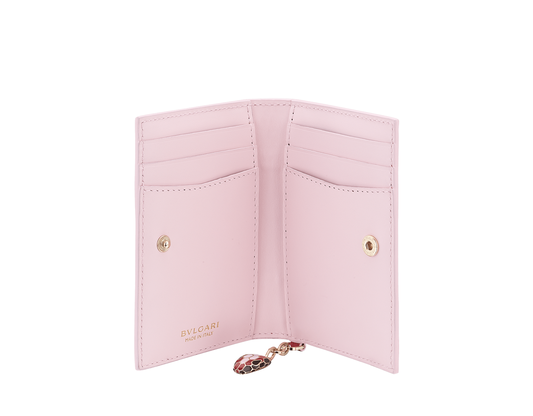 Serpenti Forever Celebration Edition folded credit card holder in carmine jasper and rosa di Francia calf leather. Snakehead charm with black, carmine jasper and rosa di Francia enamel, and black enamel eyes. 289553 image 2
