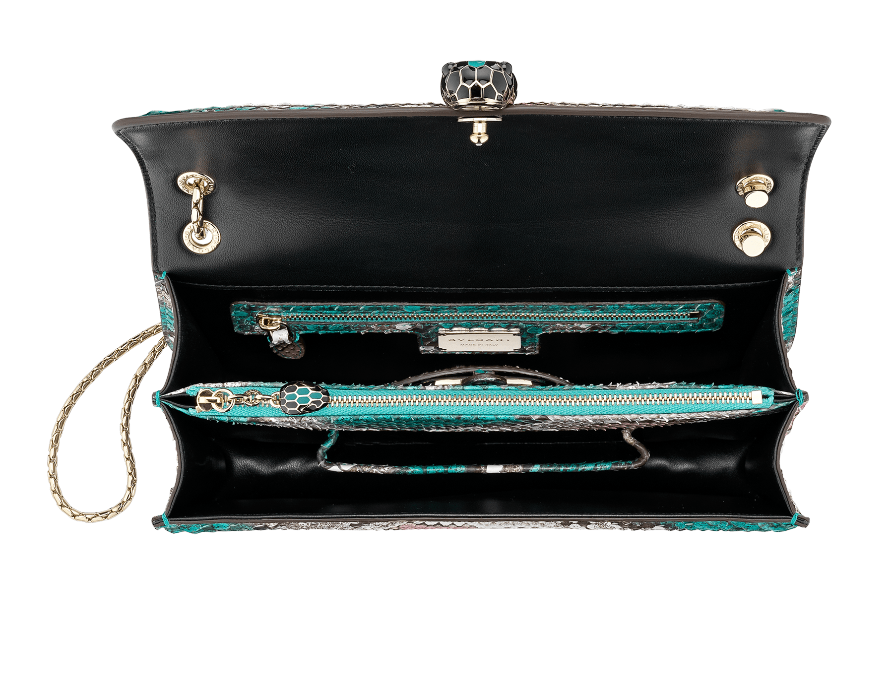 Serpenti Forever shoulder bag in arctic jade Psiche python skin. Iconic snakehead closure in light gold plated brass embellished with black and arctic jade enamel and black onyx eyes. 288939 image 4