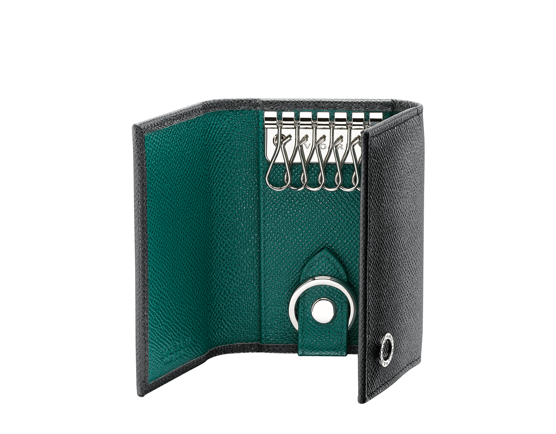 BVLGARI BVLGARI double keyholder in charcoal diamond and emerald green grain calf leather. Detachable car keyholder in palladium plated brass. 289132 image 2