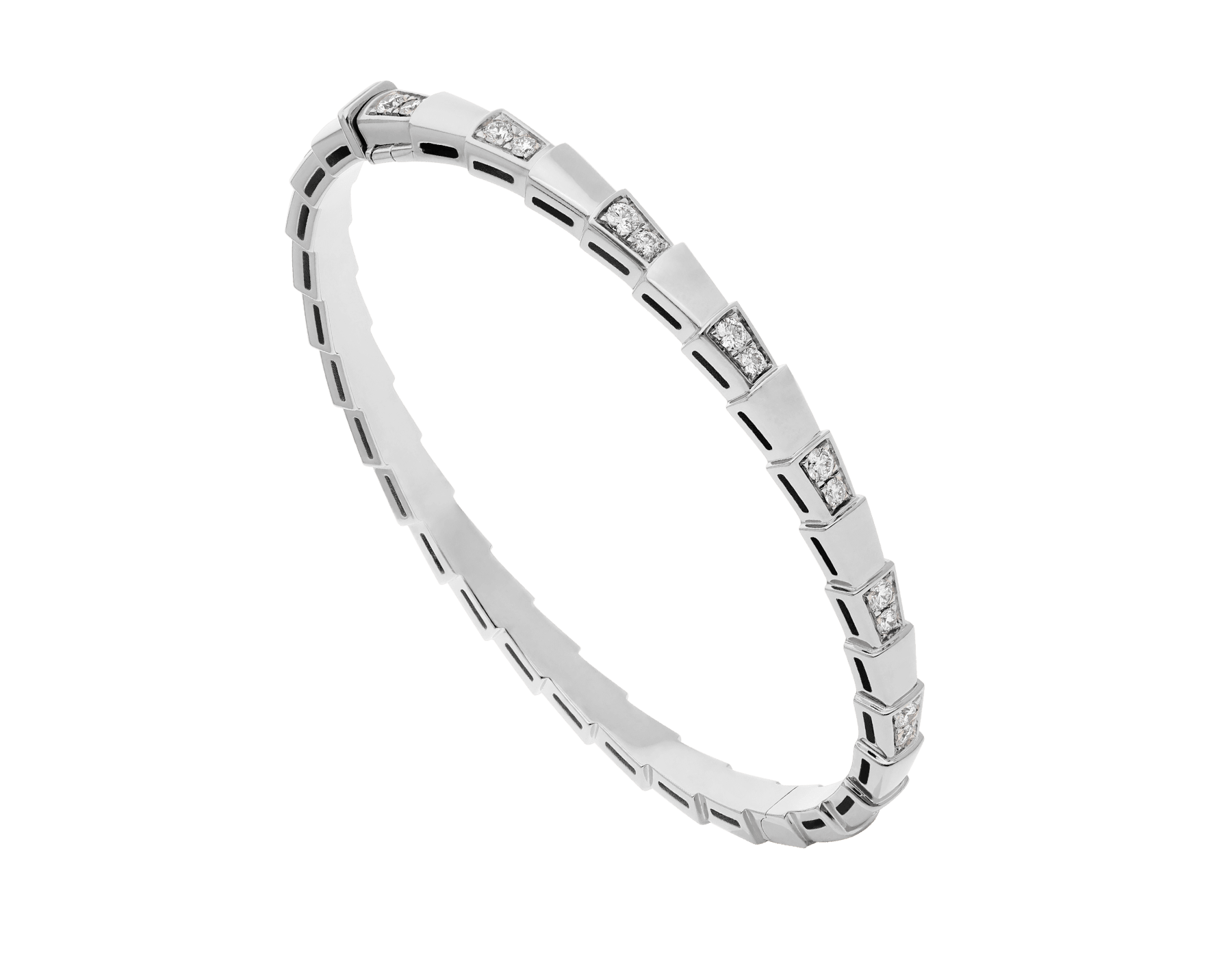 Serpenti Viper 18 kt white gold bracelet set with demi pavé diamonds .(height 4 mm) BR858420 image 1