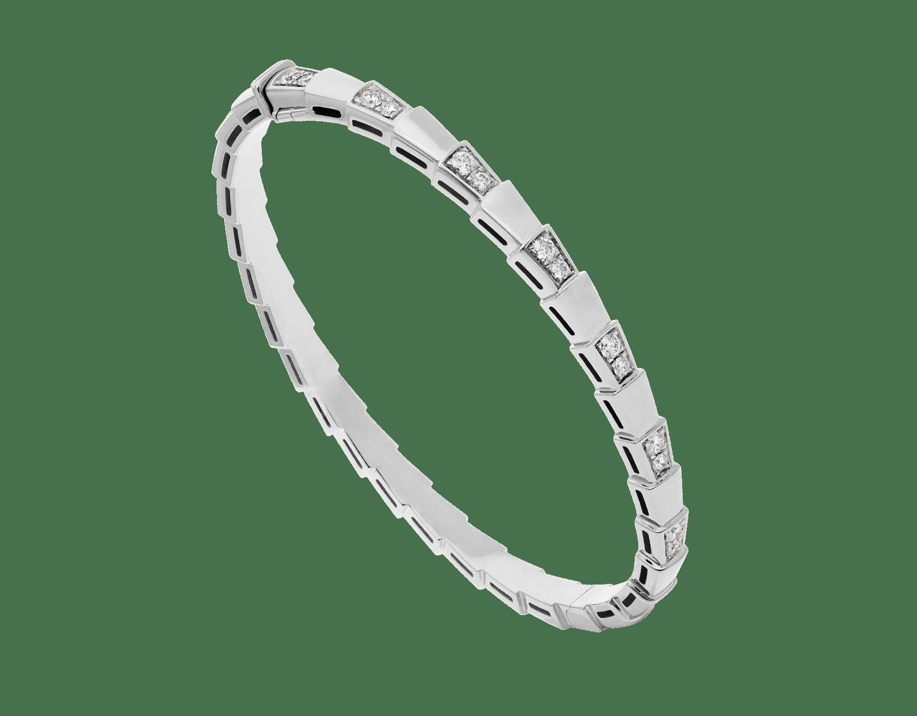 Serpenti Viper 18 kt white gold bracelet set with demi-pavé diamonds. (width 4 mm) BR858420 image 1