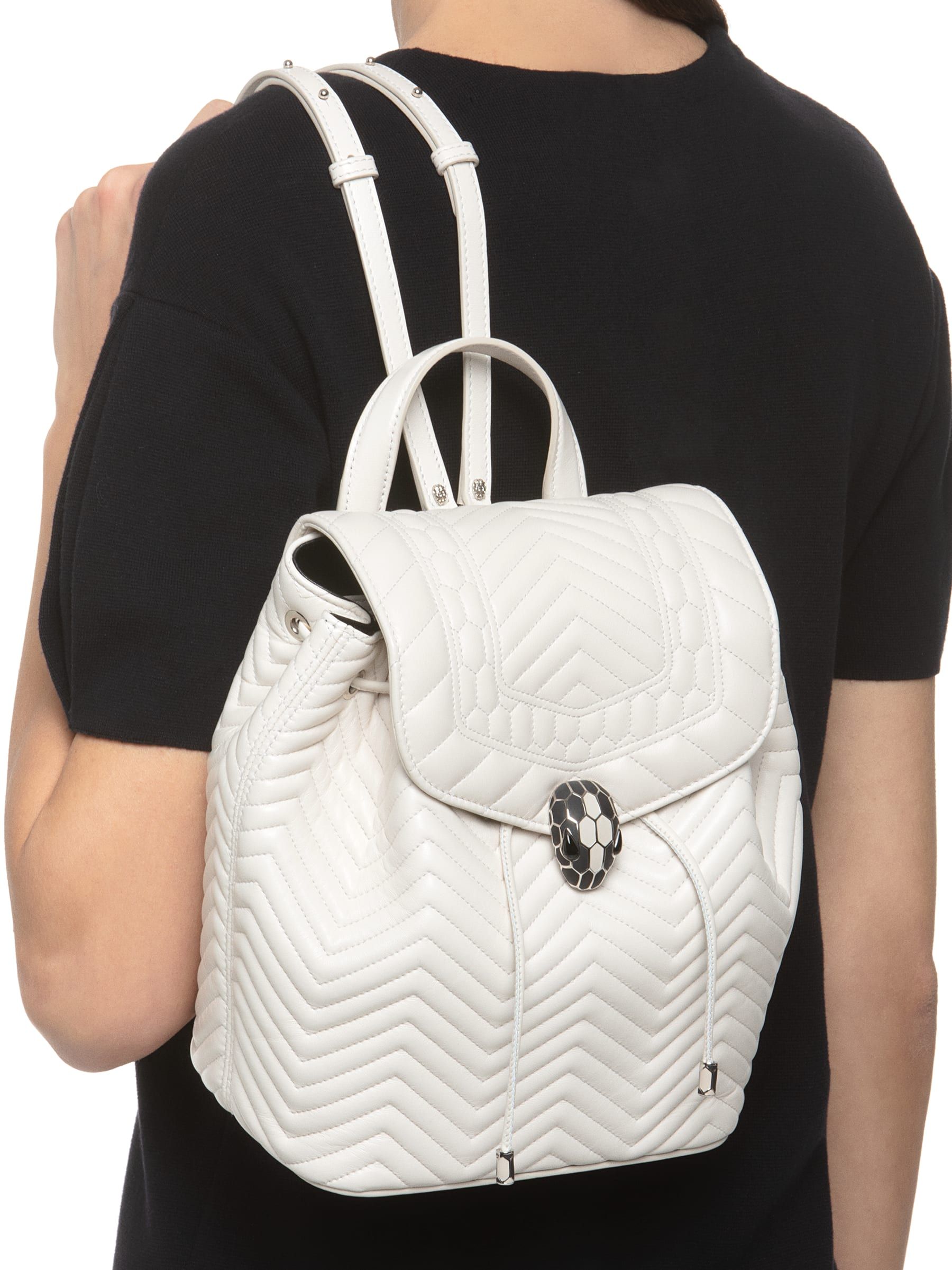 Backpack Serpenti Forever in white agate quilted nappa leather and black internal lining. Hardware in light gold plated brass and snakehead closure in matte black and white agate enamel, with eyes in black onyx. 286979 image 2