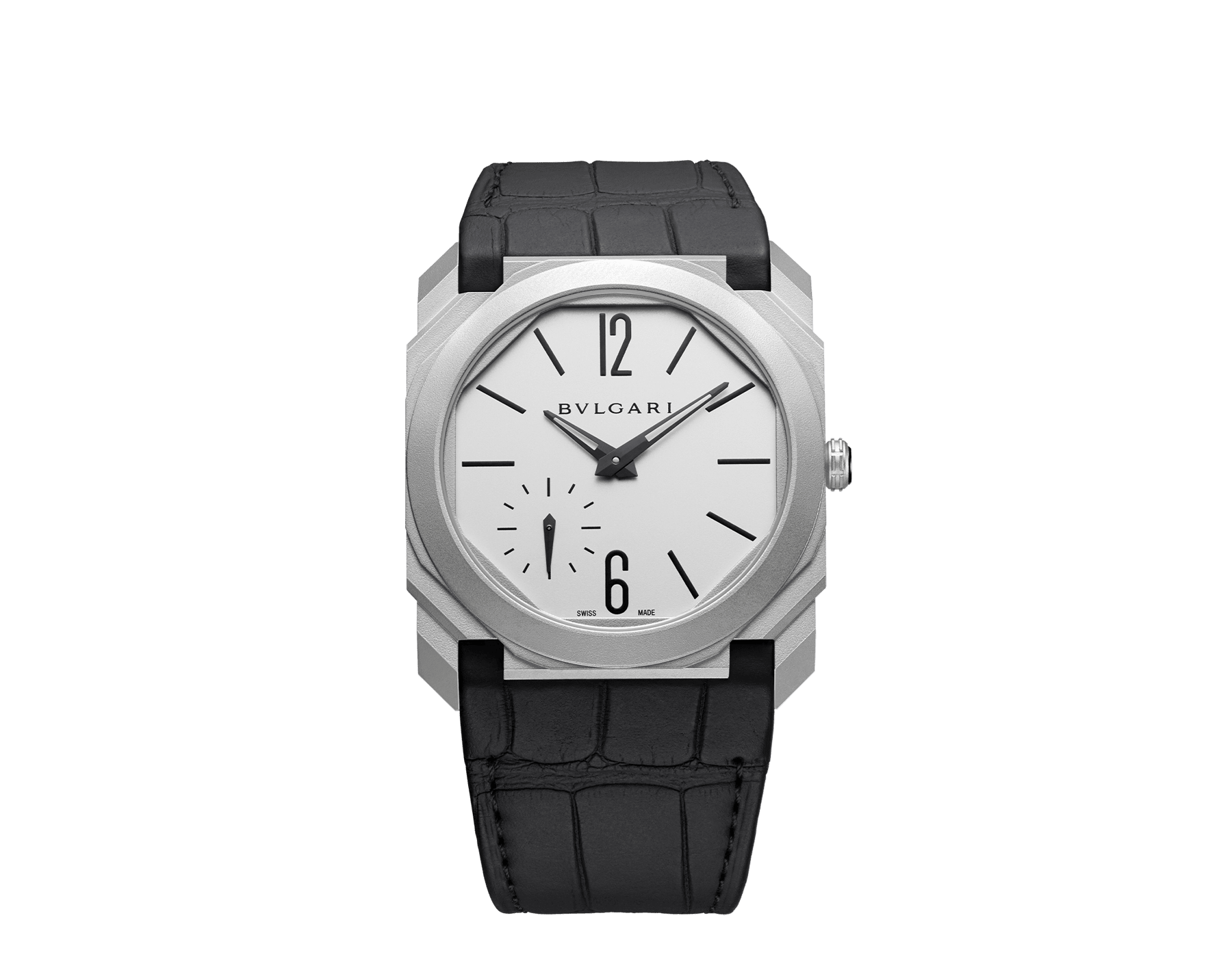 Octo Finissimo Automatic watch with mechanical manufacture movement, automatic winding, platinum microrotor, small seconds, extra-thin stainless steel case and dial, and black alligator bracelet 103035 image 1