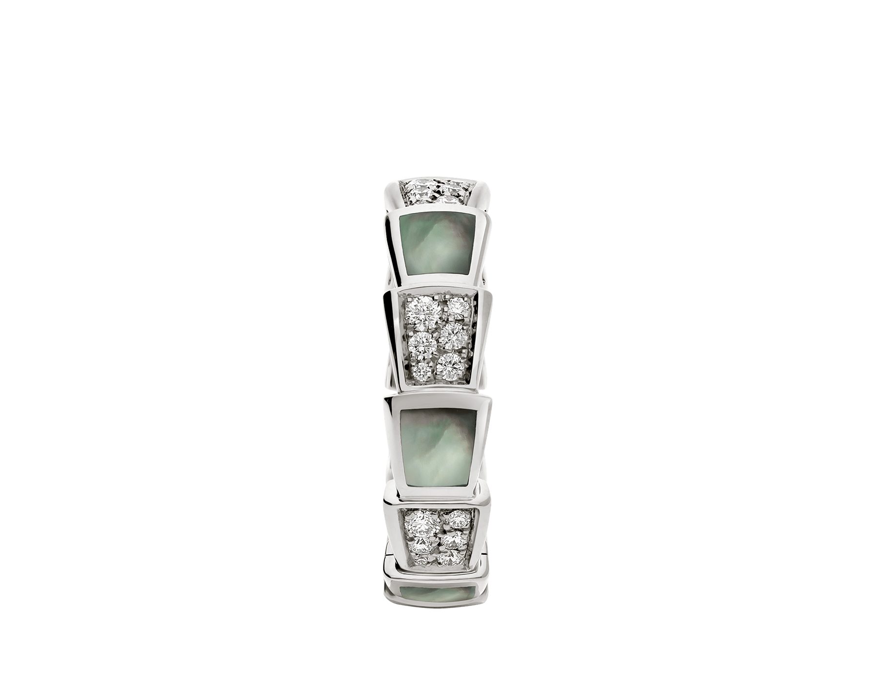 Serpenti Viper band ring in 18 kt white gold set with grey mother-of-pearl elements and pavé diamonds . AN857900 image 2