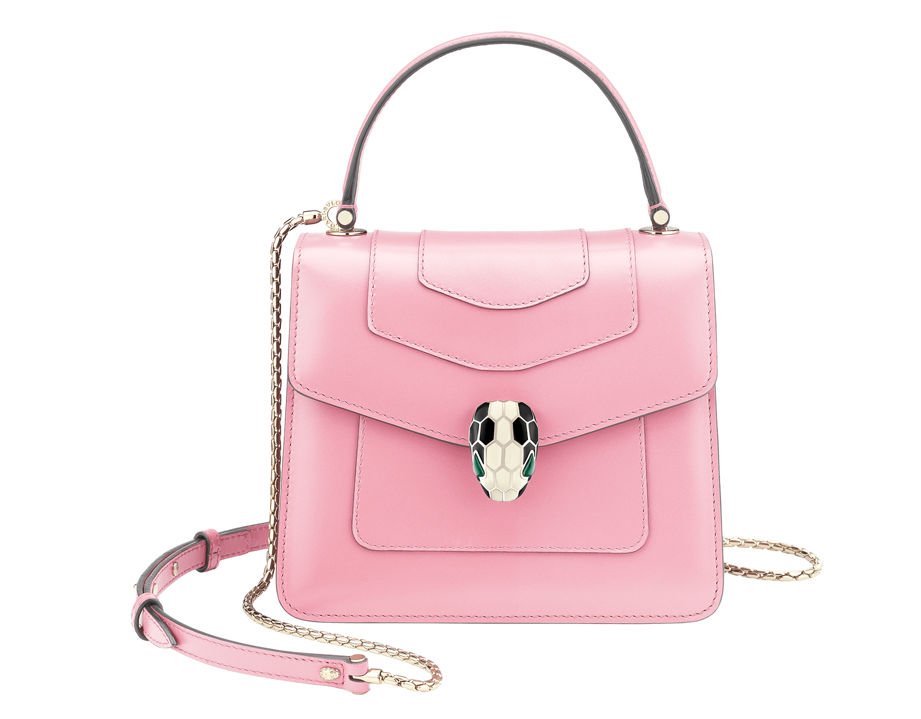 """Serpenti Forever"" crossbody bag in flamingo quartz calf leather. Iconic snakehead closure in light gold plated brass enriched with black and white enamel and green malachite eyes. 287968 image 1"
