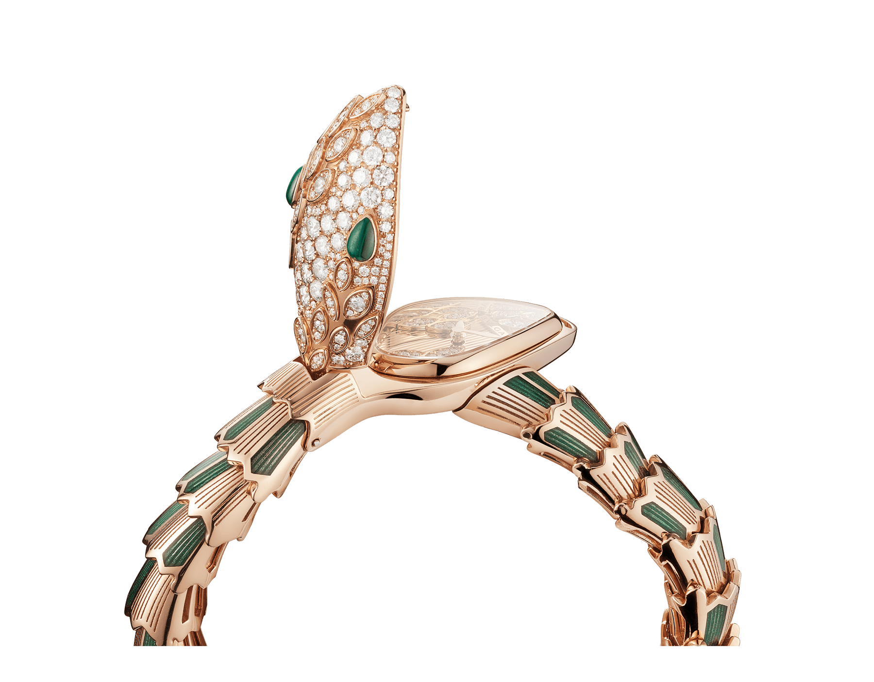 Serpenti Secret Watch with 18 kt rose gold head set with brilliant cut diamonds and malachite eyes, 18 kt rose gold case, 18 kt rose gold dial and single spiral bracelet, both set with brilliant cut diamonds, malachites and green enamel. 102240 image 3