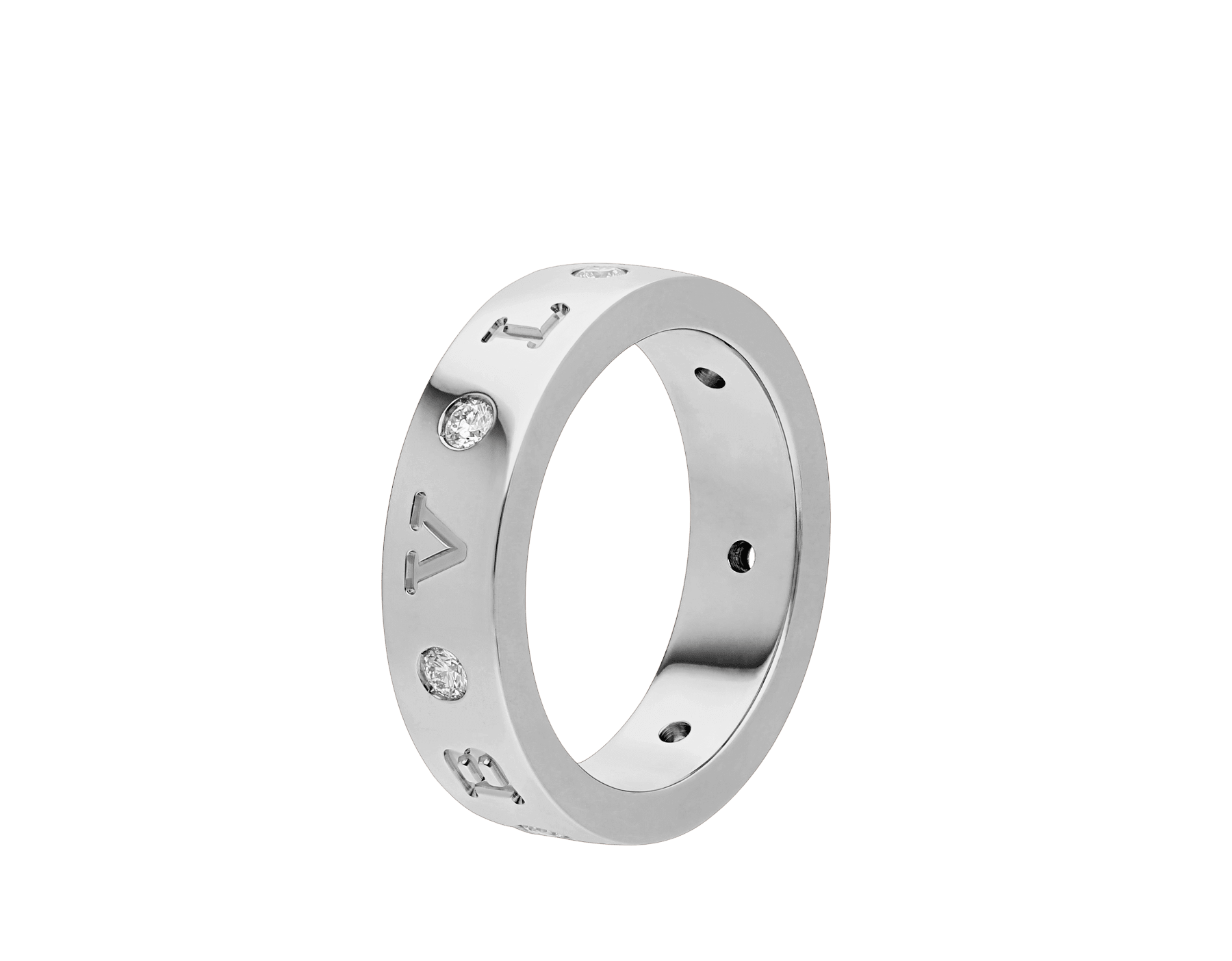 BVLGARI BVLGARI 18 kt white gold band ring set with seven diamonds (0.20 ct) AN858097 image 1